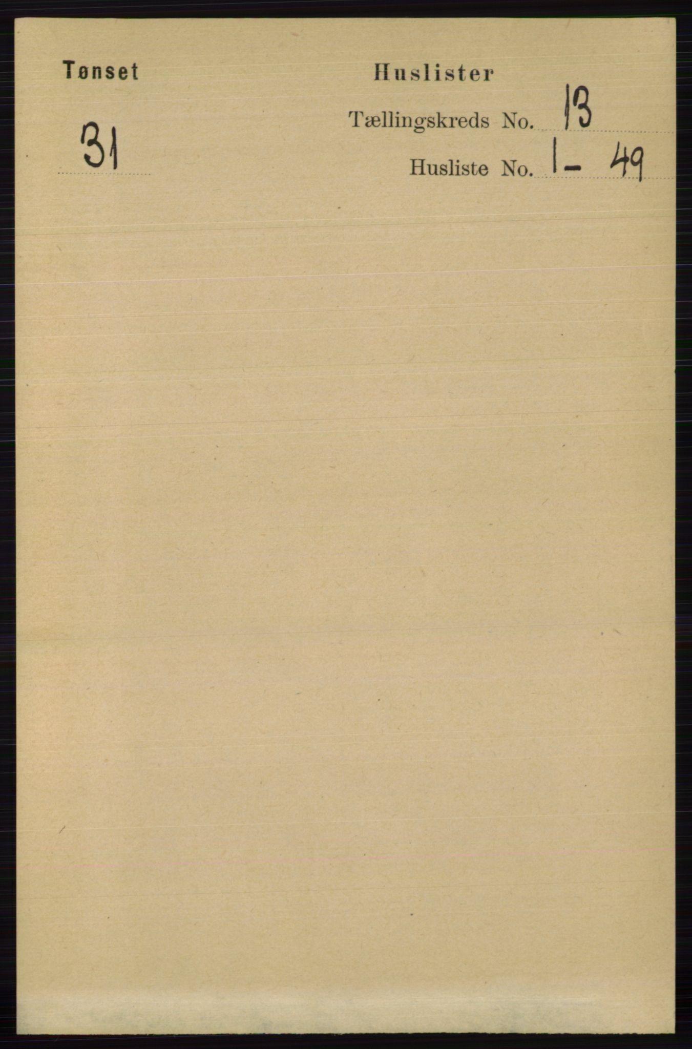 RA, Folketelling 1891 for 0437 Tynset herred, 1891, s. 3463