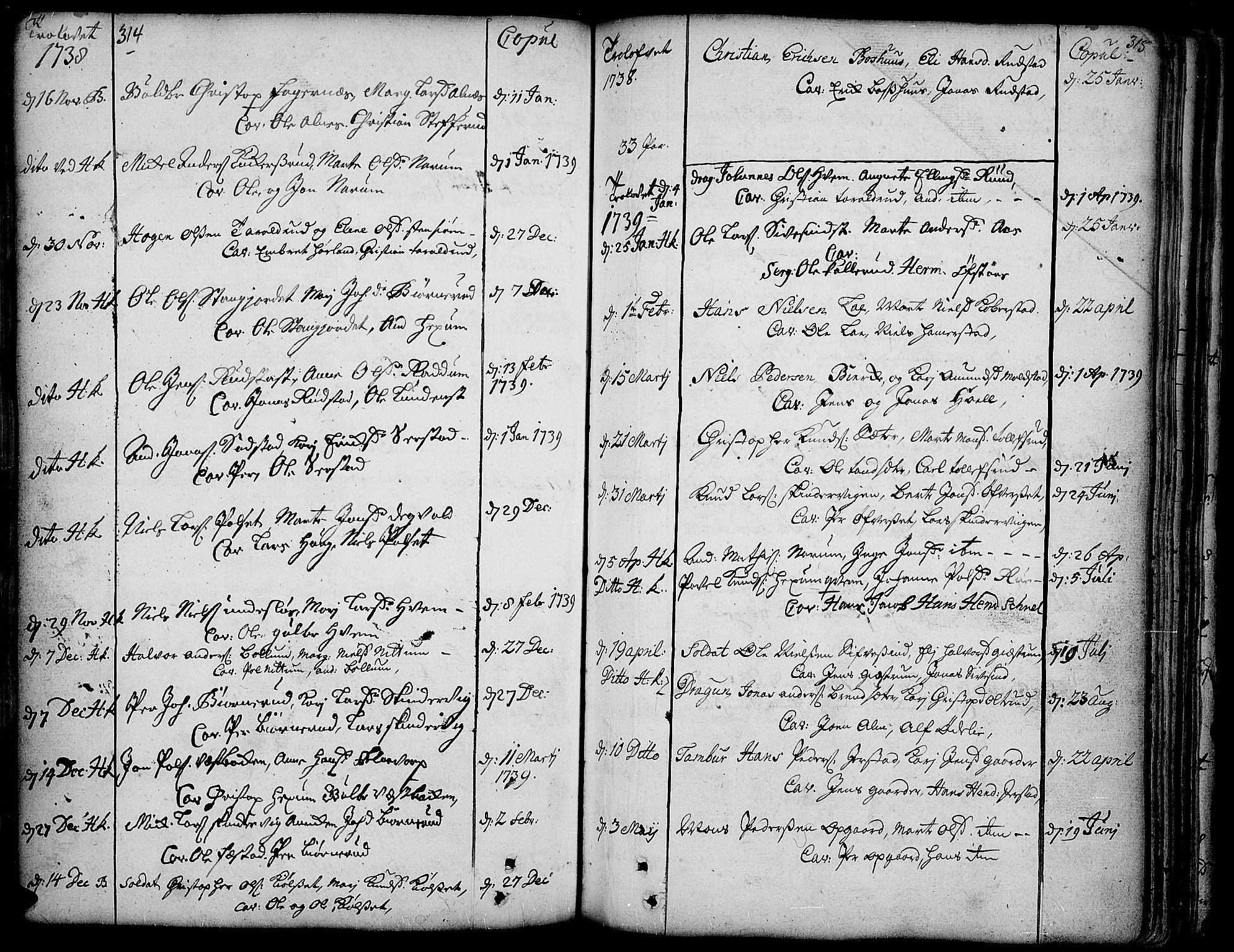 SAH, Toten prestekontor, Ministerialbok nr. 3, 1734-1751, s. 314-315