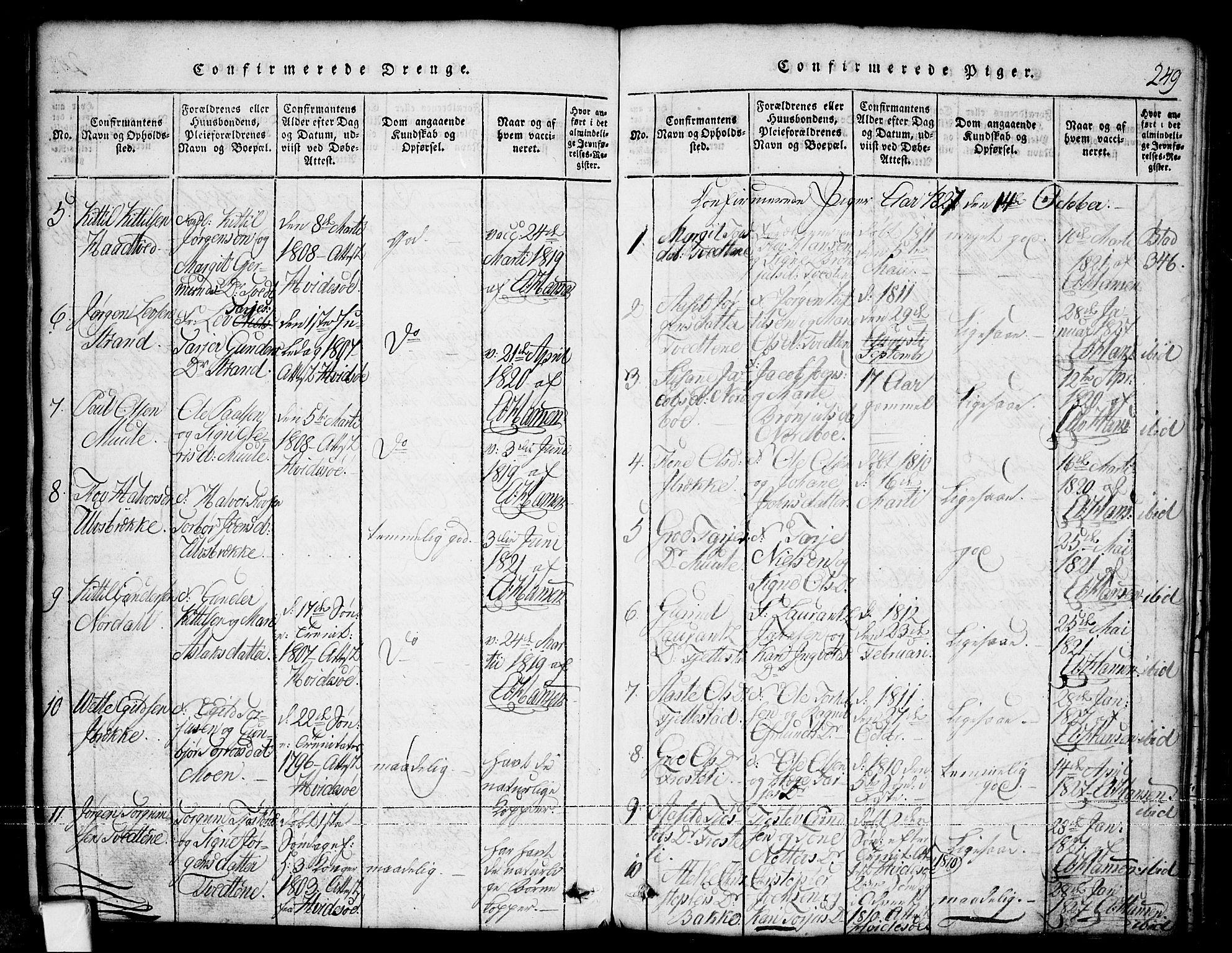 SAKO, Nissedal kirkebøker, G/Ga/L0001: Klokkerbok nr. I 1, 1814-1860, s. 249
