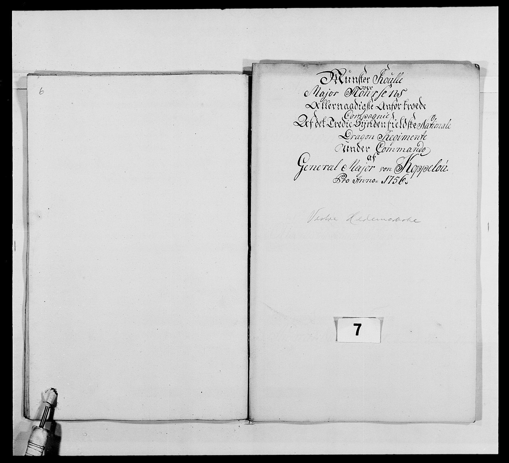 RA, Kommanderende general (KG I) med Det norske krigsdirektorium, E/Ea/L0479: 3. Sønnafjelske dragonregiment, 1756-1760, s. 121