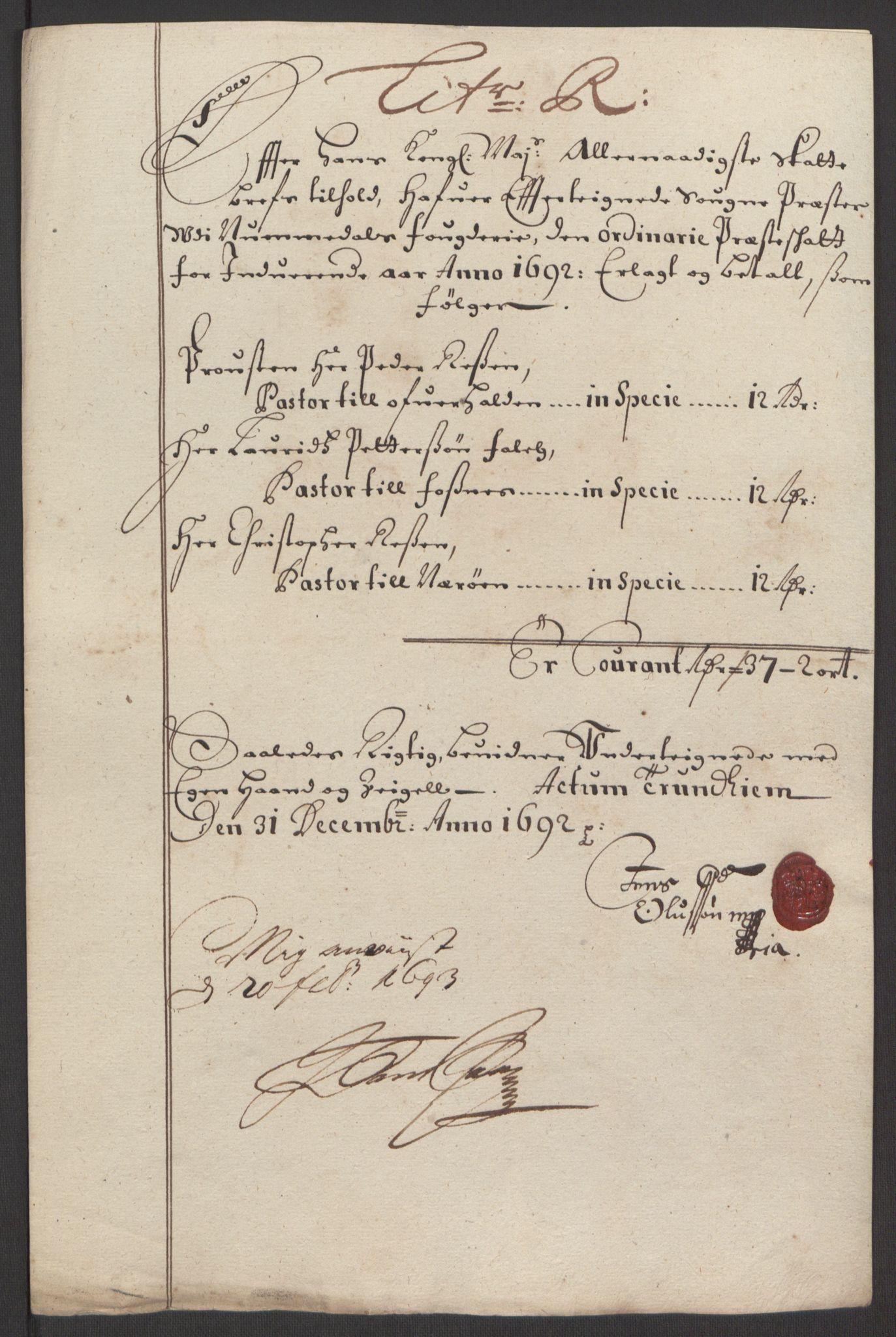 RA, Rentekammeret inntil 1814, Reviderte regnskaper, Fogderegnskap, R64/L4424: Fogderegnskap Namdal, 1692-1695, s. 113