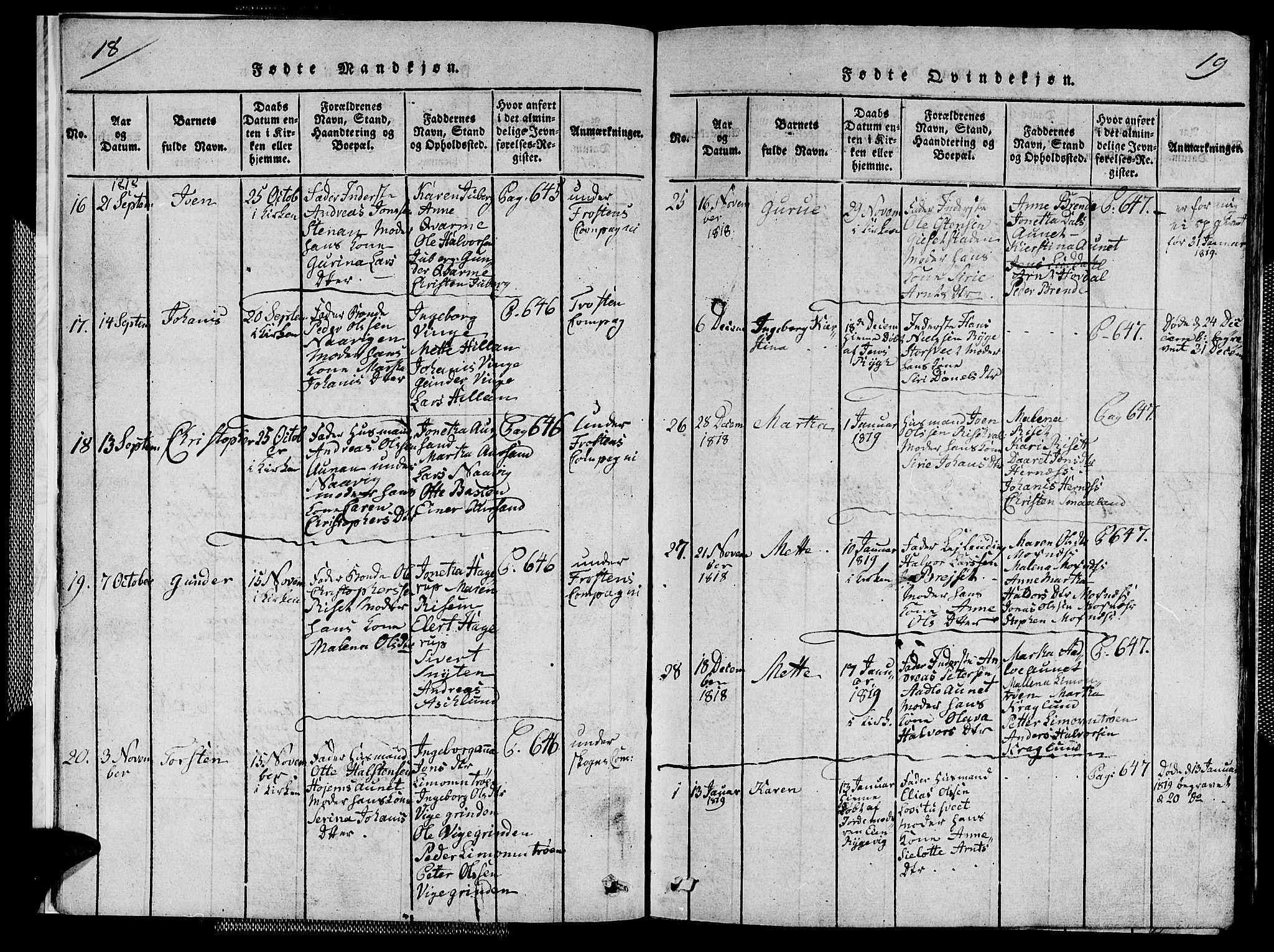 SAT, Ministerialprotokoller, klokkerbøker og fødselsregistre - Nord-Trøndelag, 713/L0124: Klokkerbok nr. 713C01, 1817-1827, s. 18-19