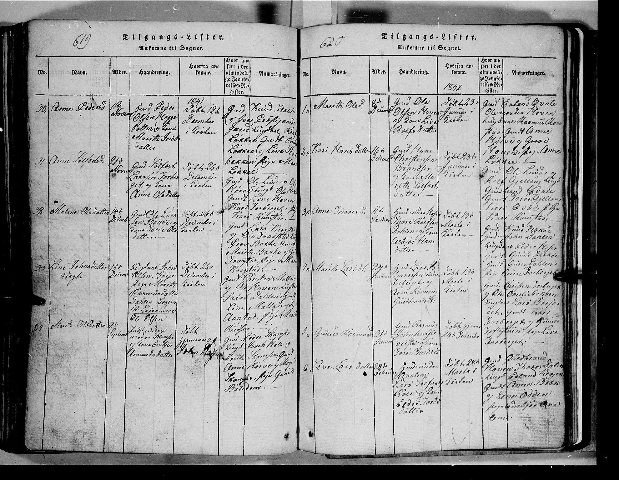 SAH, Lom prestekontor, L/L0003: Klokkerbok nr. 3, 1815-1844, s. 619-620