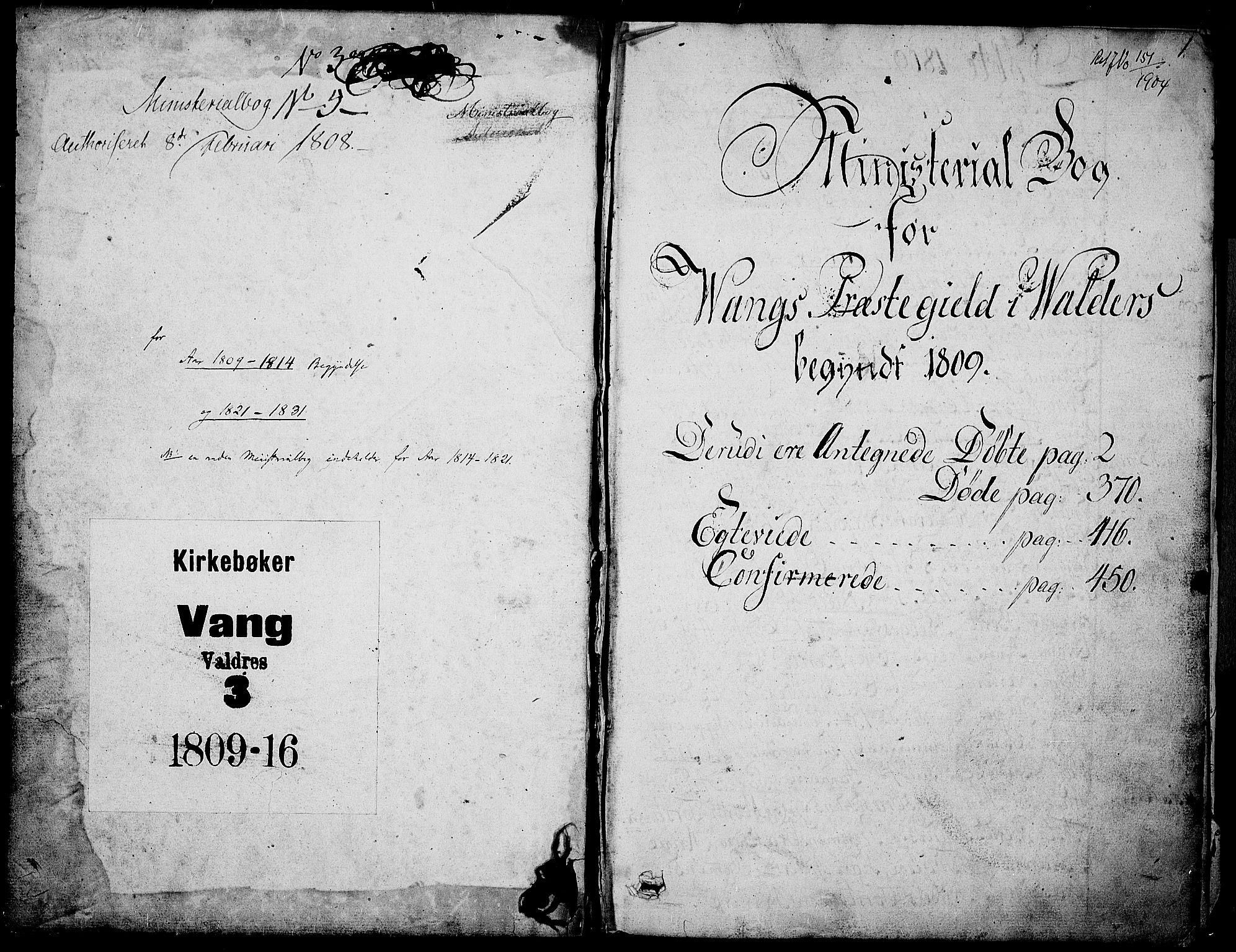 SAH, Vang prestekontor, Valdres, Ministerialbok nr. 3, 1809-1831, s. 0-1