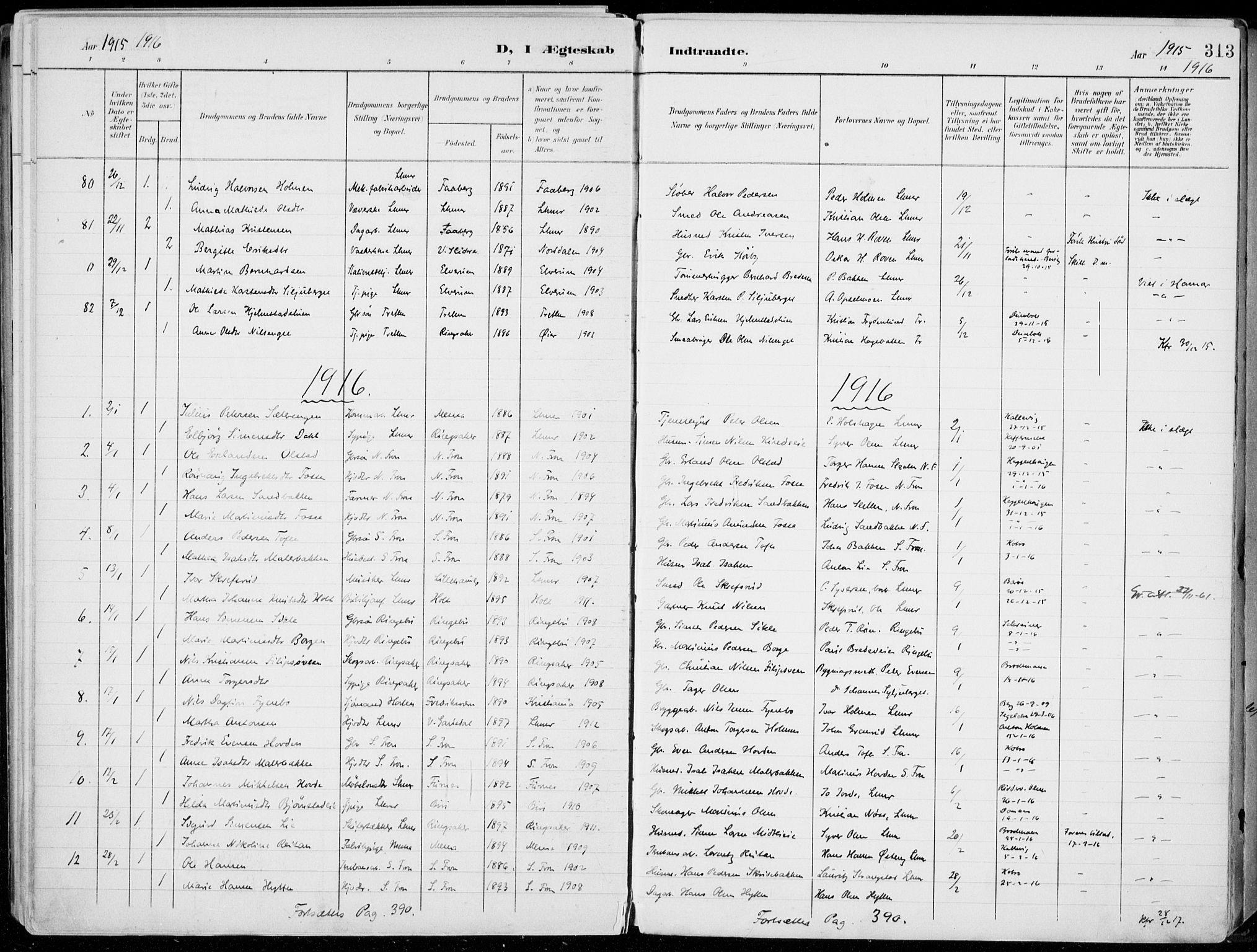 SAH, Lillehammer prestekontor, Ministerialbok nr. 1, 1901-1916, s. 313
