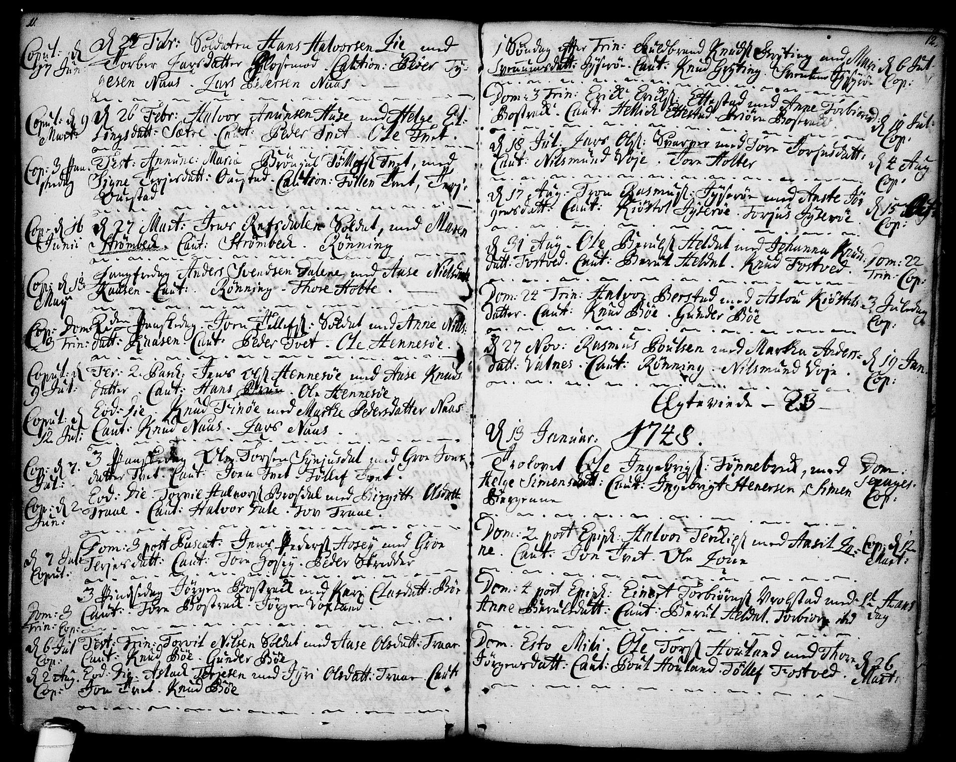SAKO, Drangedal kirkebøker, F/Fa/L0001: Ministerialbok nr. 1, 1697-1767, s. 11-12