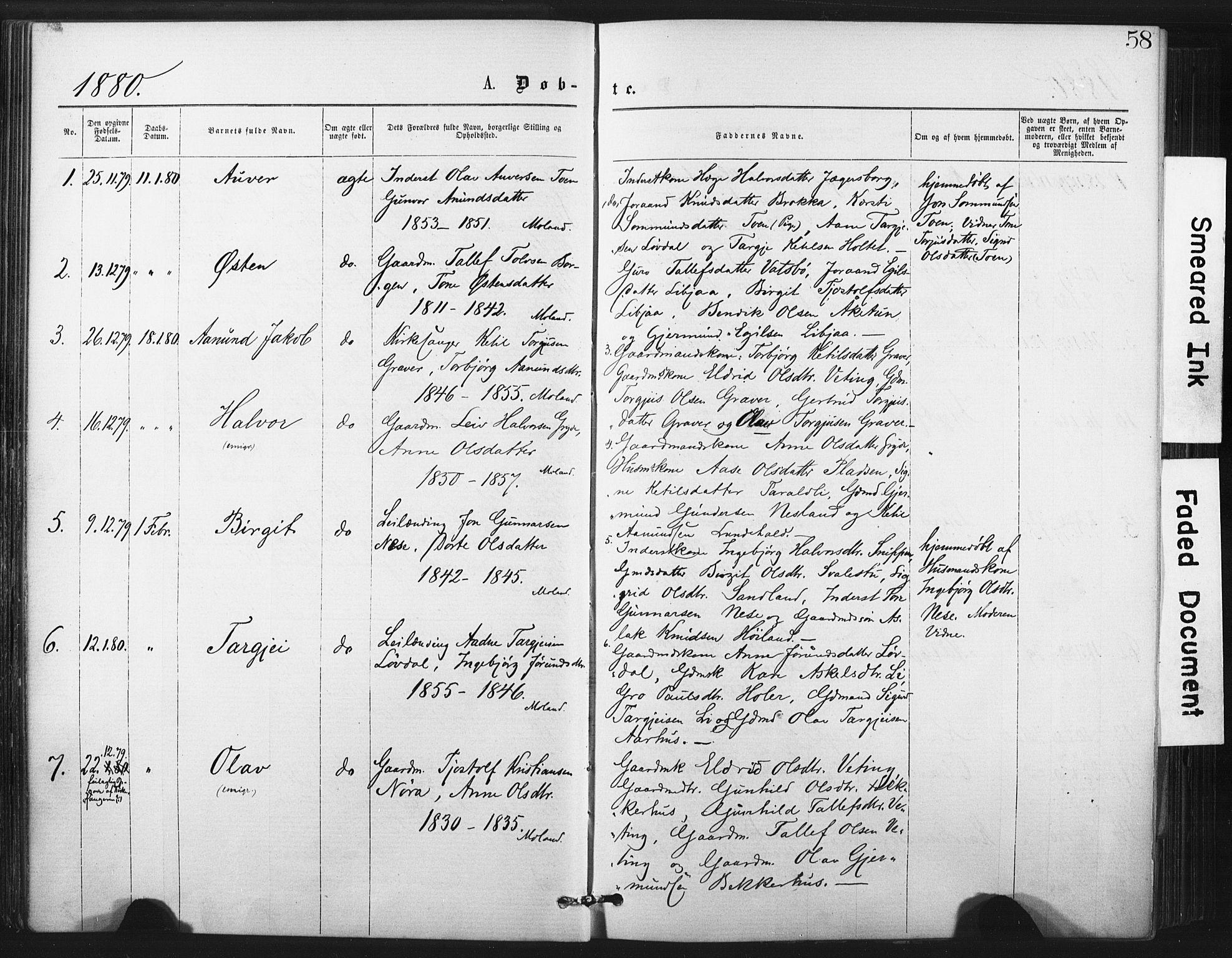 SAKO, Fyresdal kirkebøker, F/Fa/L0006: Ministerialbok nr. I 6, 1872-1886, s. 58