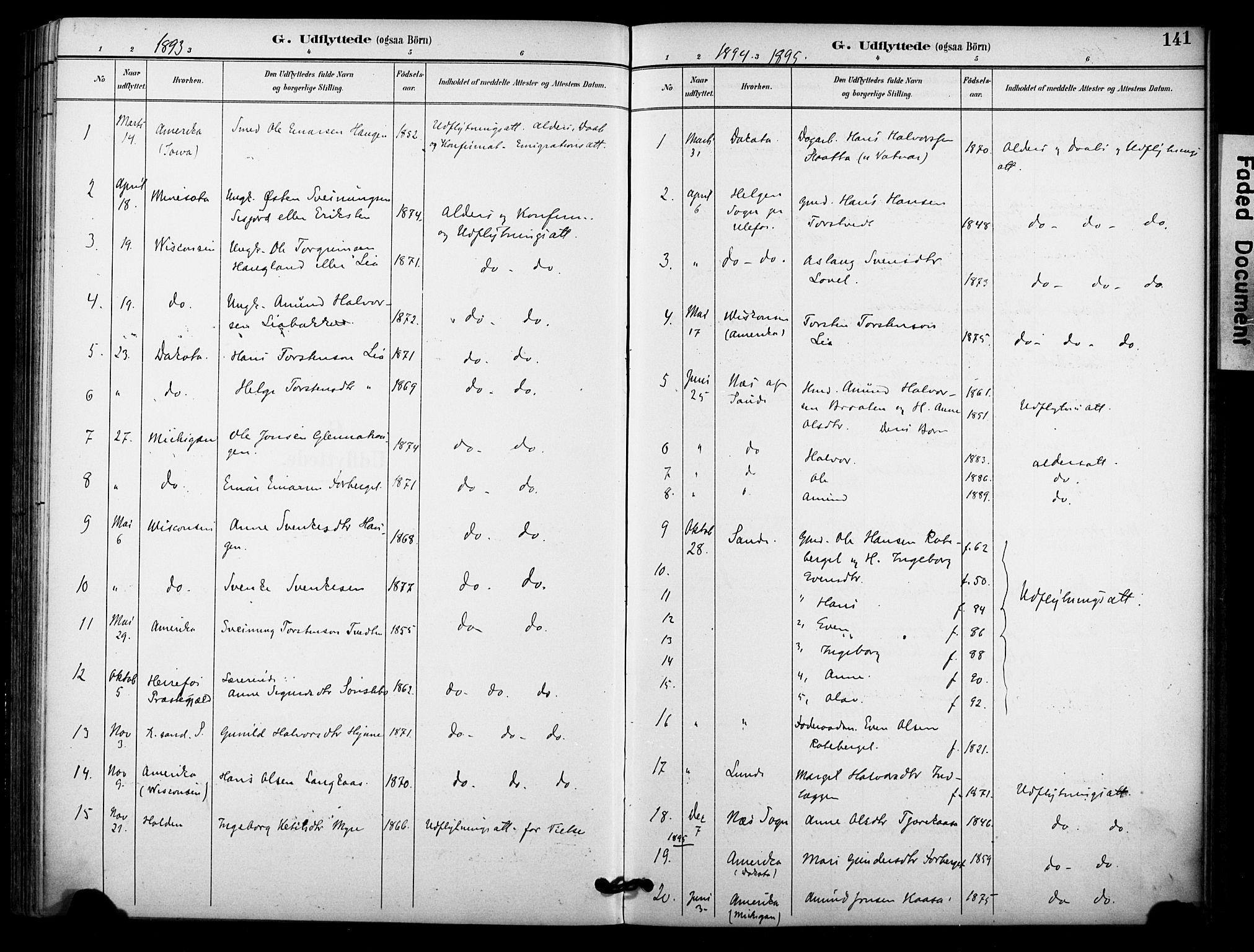 SAKO, Bø kirkebøker, F/Fa/L0011: Ministerialbok nr. 11, 1892-1900, s. 141