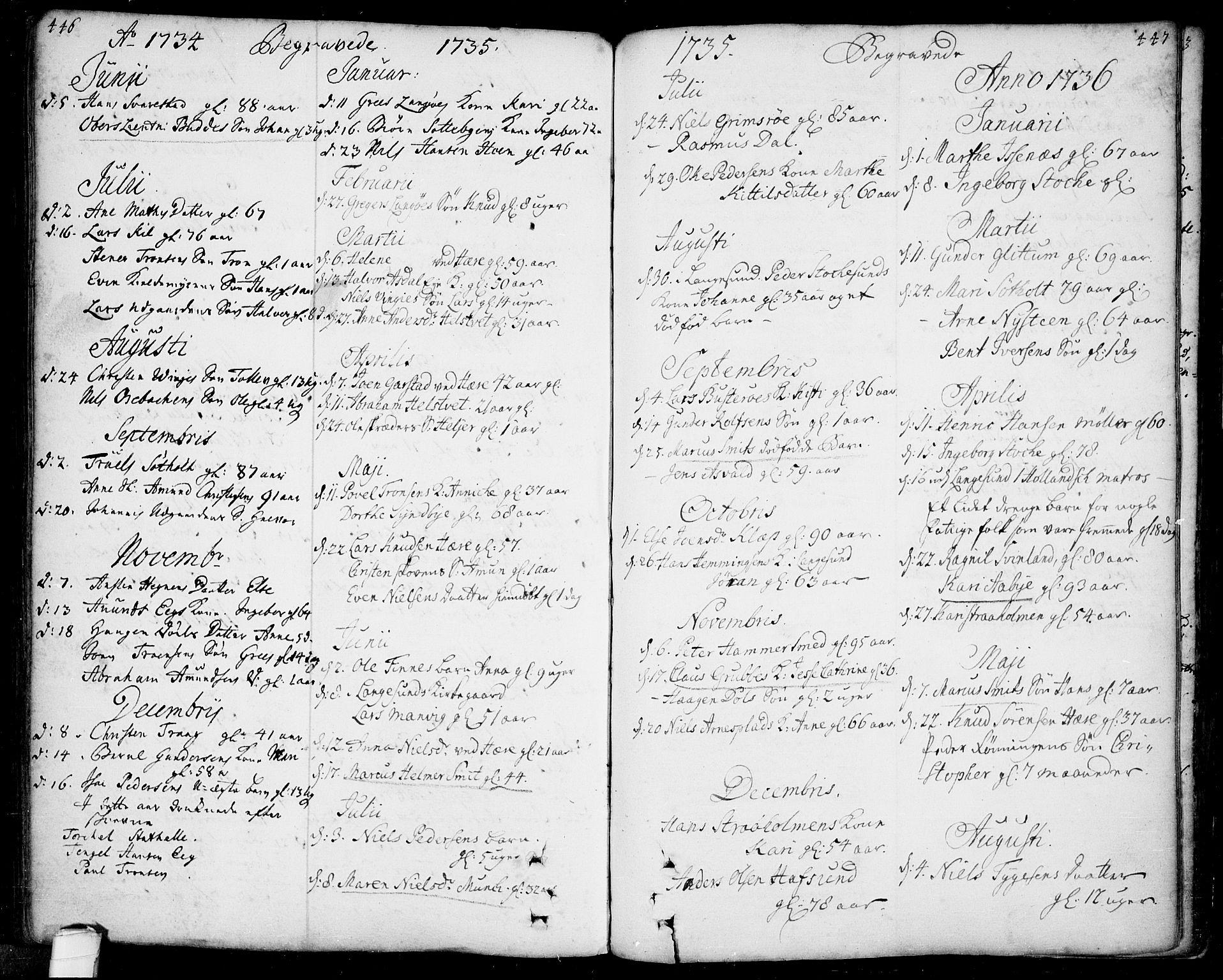 SAKO, Bamble kirkebøker, F/Fa/L0001: Ministerialbok nr. I 1, 1702-1774, s. 446-447