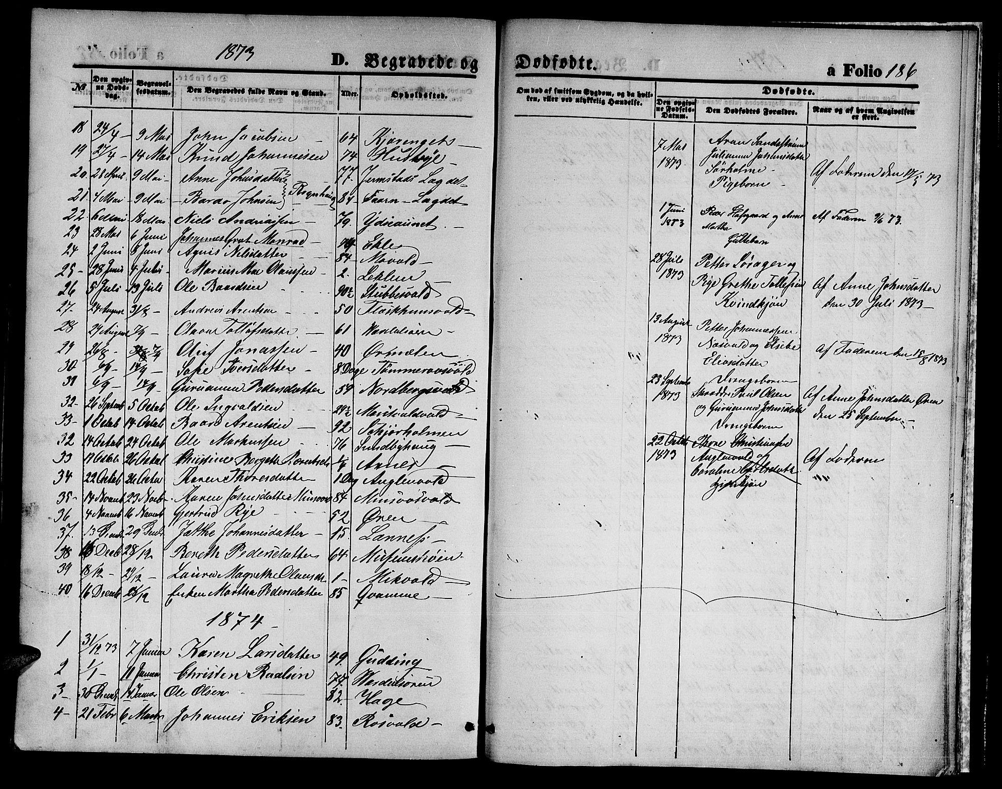 SAT, Ministerialprotokoller, klokkerbøker og fødselsregistre - Nord-Trøndelag, 723/L0255: Klokkerbok nr. 723C03, 1869-1879, s. 186