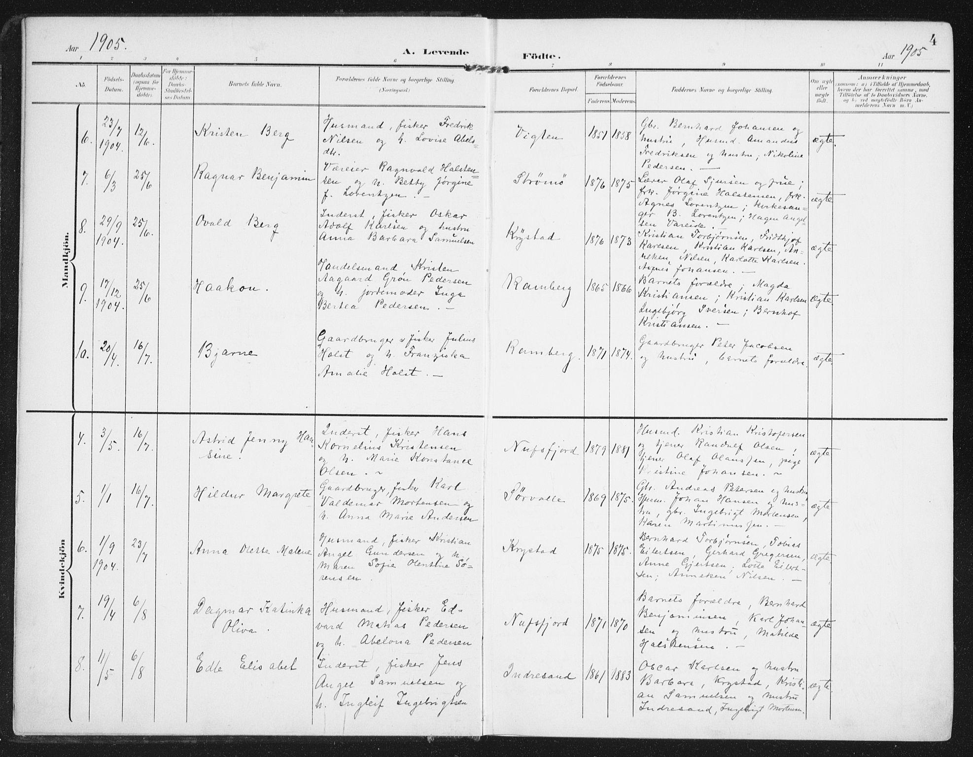 SAT, Ministerialprotokoller, klokkerbøker og fødselsregistre - Nordland, 885/L1206: Ministerialbok nr. 885A07, 1905-1915, s. 4