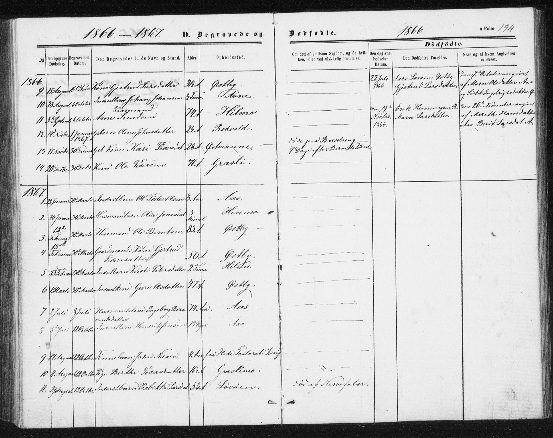 SAT, Ministerialprotokoller, klokkerbøker og fødselsregistre - Sør-Trøndelag, 698/L1166: Klokkerbok nr. 698C03, 1861-1887, s. 194
