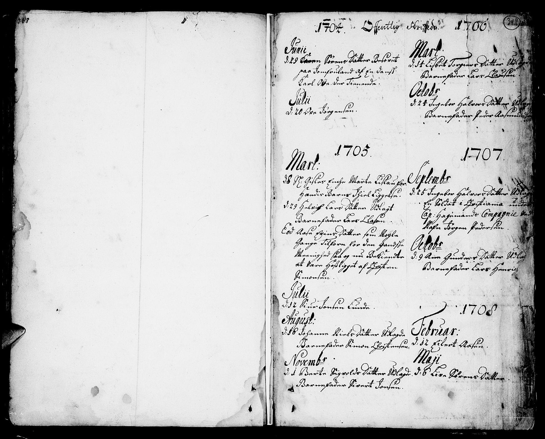 SAKO, Sannidal kirkebøker, F/Fa/L0001: Ministerialbok nr. 1, 1702-1766, s. 348-349
