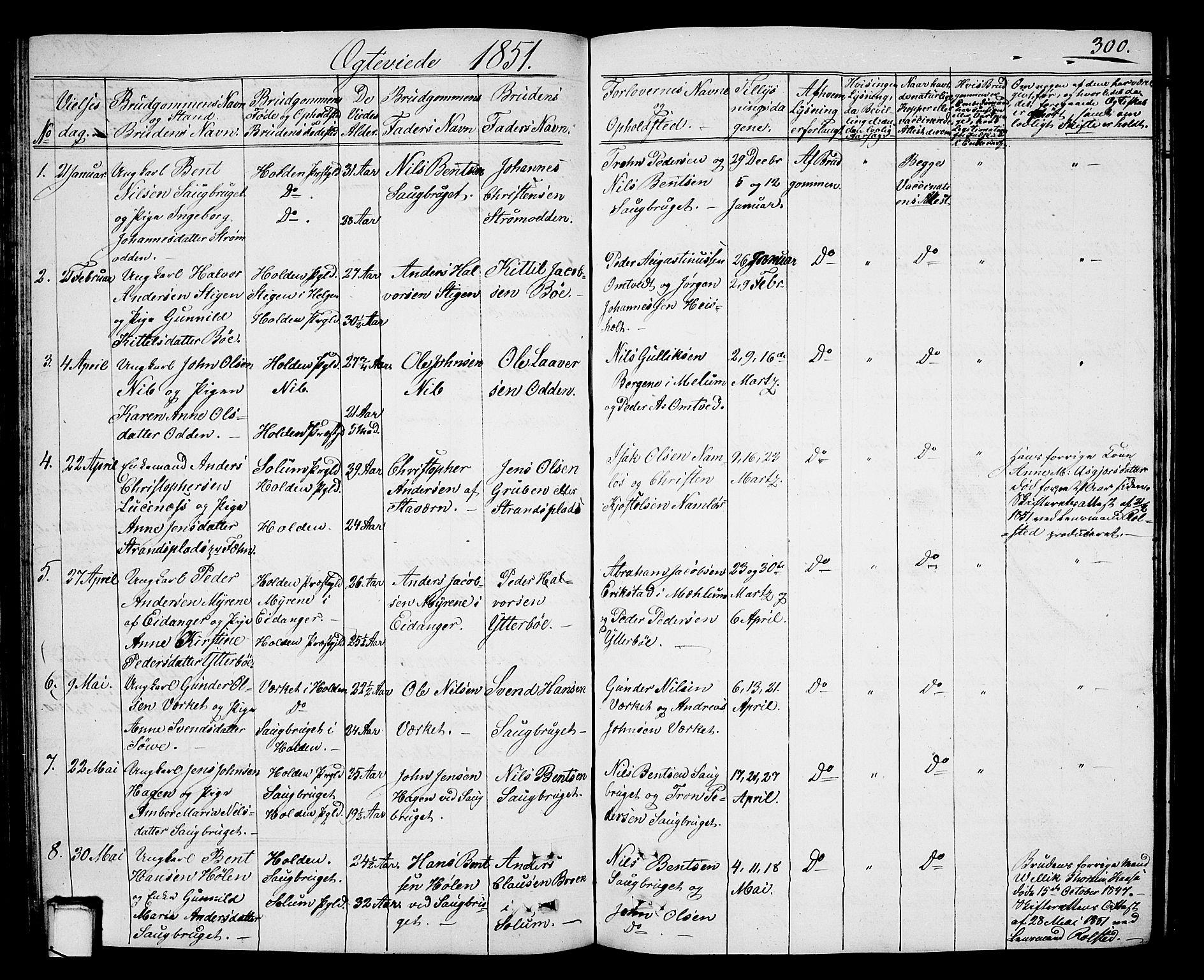 SAKO, Holla kirkebøker, G/Ga/L0003: Klokkerbok nr. I 3, 1849-1866, s. 300