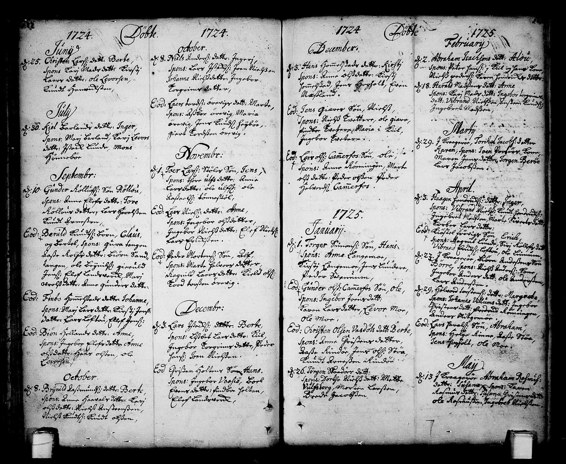 SAKO, Sannidal kirkebøker, F/Fa/L0001: Ministerialbok nr. 1, 1702-1766, s. 122-123