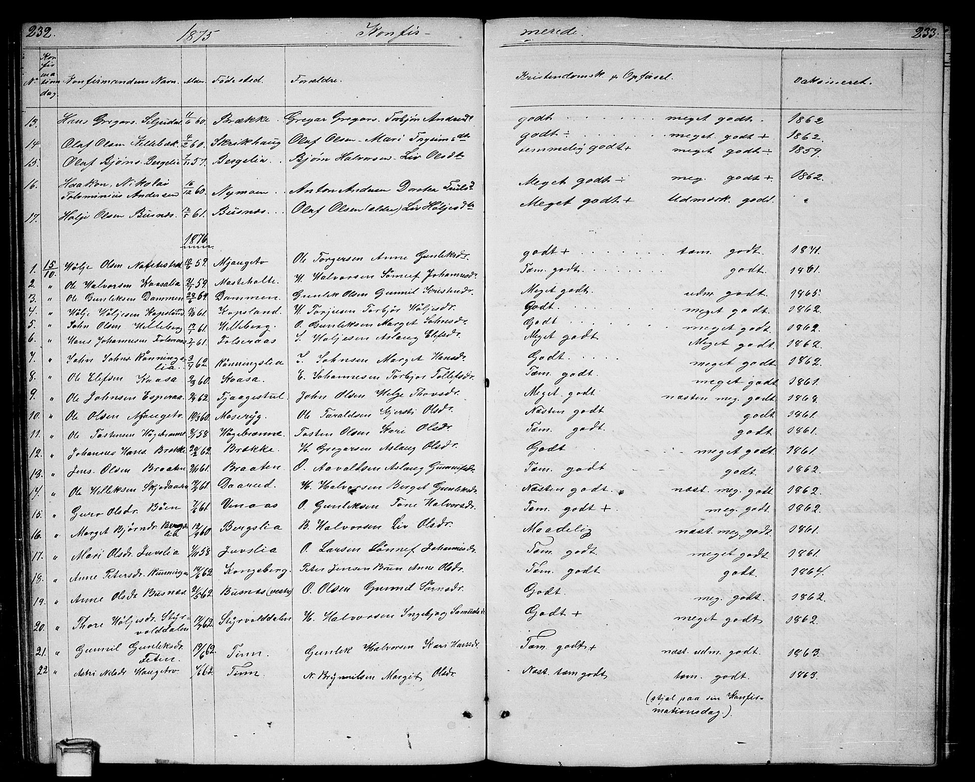 SAKO, Gransherad kirkebøker, G/Ga/L0002: Klokkerbok nr. I 2, 1854-1886, s. 232-233