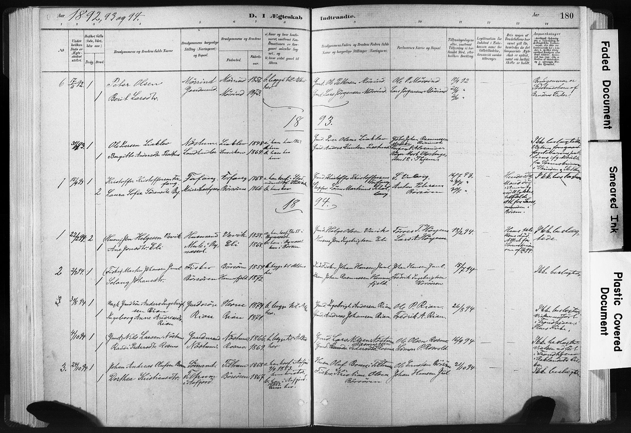 SAT, Ministerialprotokoller, klokkerbøker og fødselsregistre - Sør-Trøndelag, 665/L0773: Ministerialbok nr. 665A08, 1879-1905, s. 180