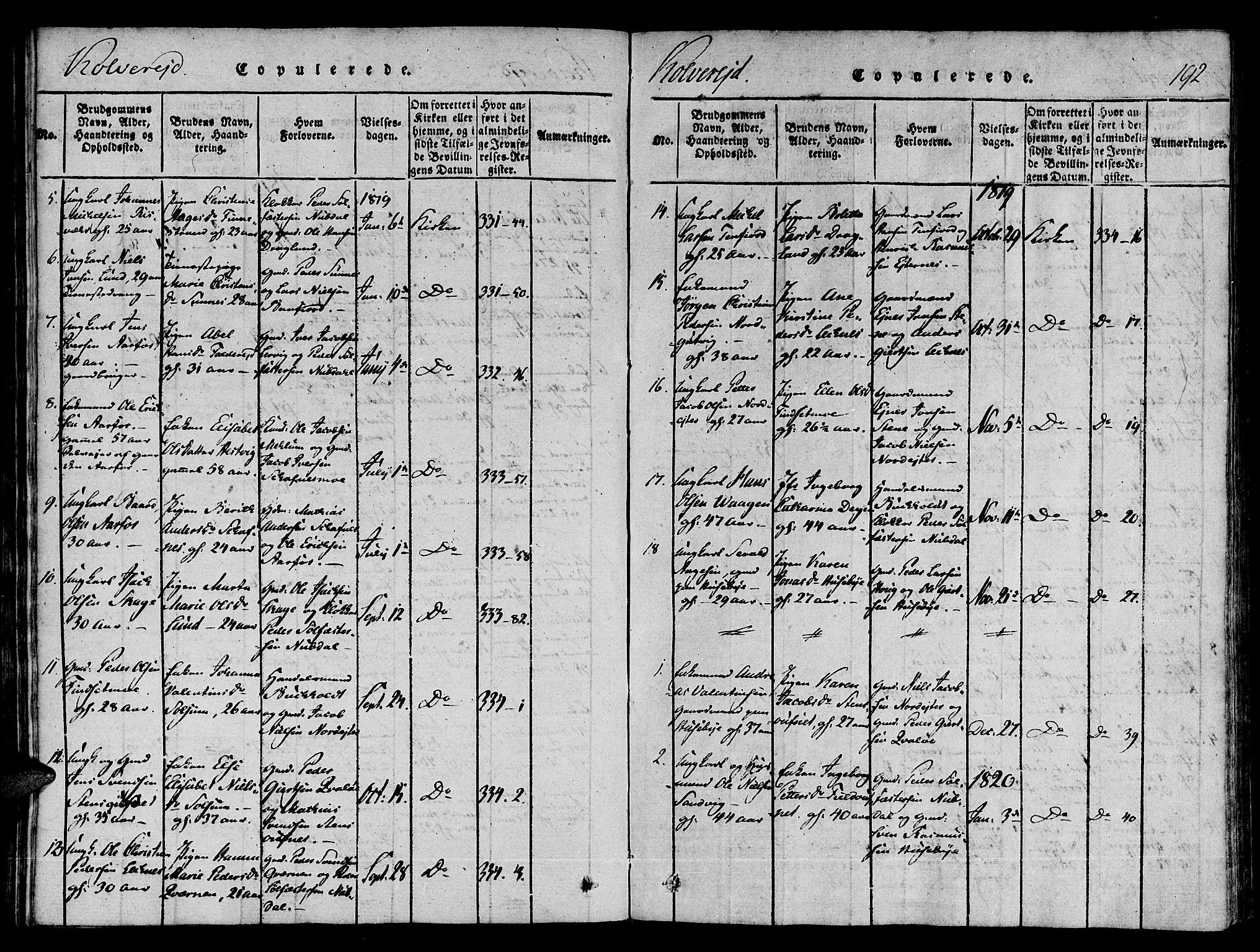 SAT, Ministerialprotokoller, klokkerbøker og fødselsregistre - Nord-Trøndelag, 780/L0636: Ministerialbok nr. 780A03 /1, 1815-1830, s. 192