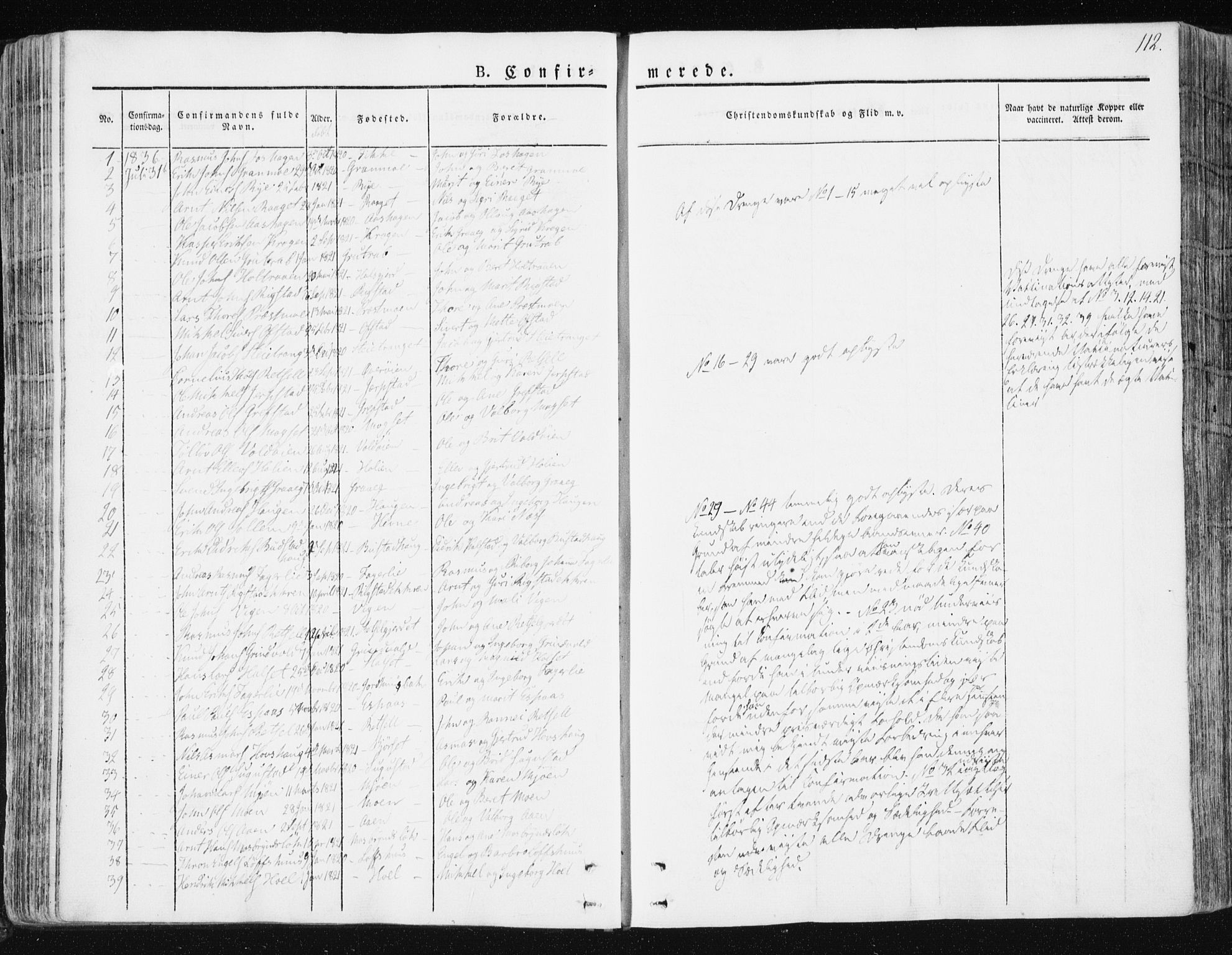 SAT, Ministerialprotokoller, klokkerbøker og fødselsregistre - Sør-Trøndelag, 672/L0855: Ministerialbok nr. 672A07, 1829-1860, s. 112