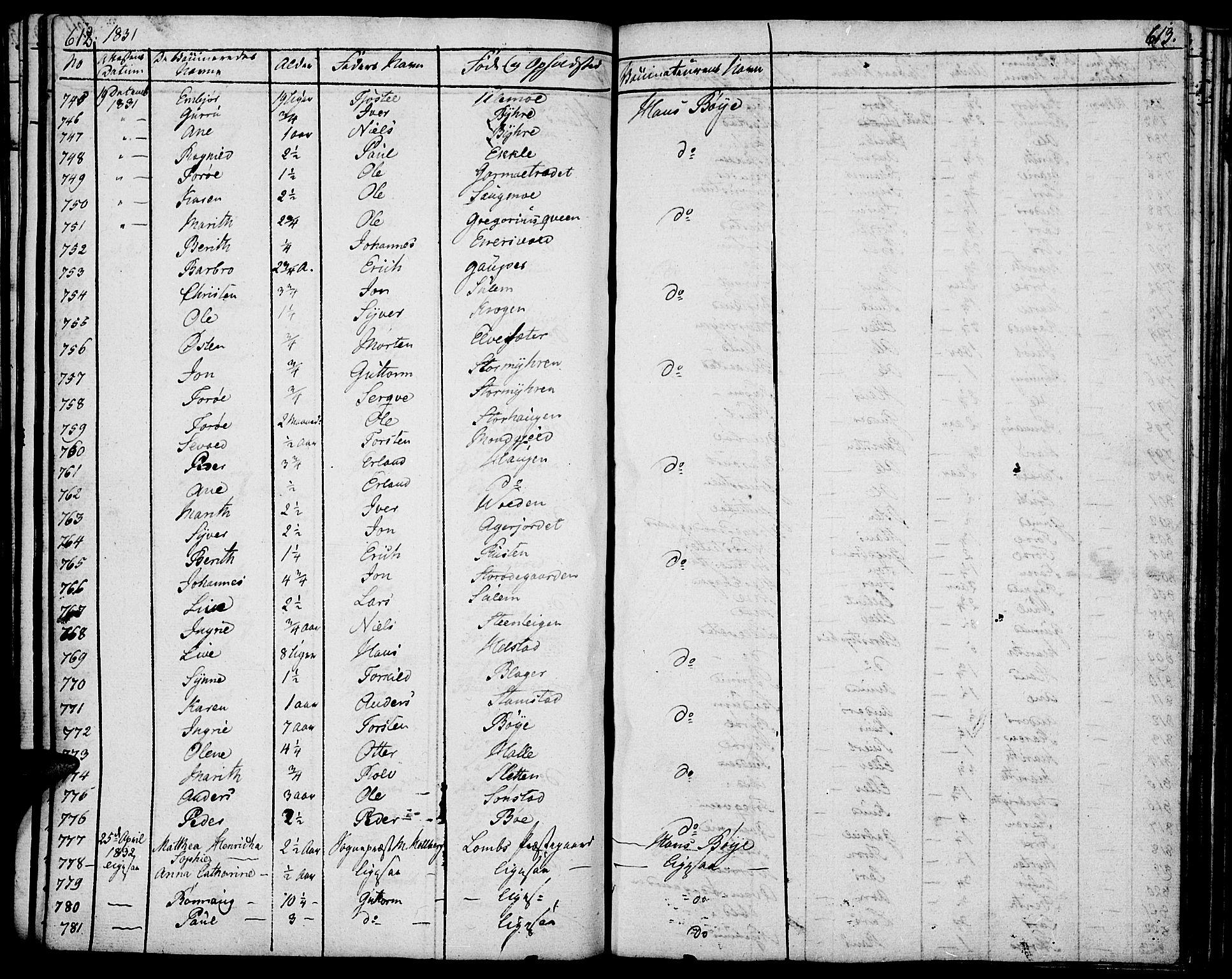 SAH, Lom prestekontor, K/L0005: Ministerialbok nr. 5, 1825-1837, s. 612-613