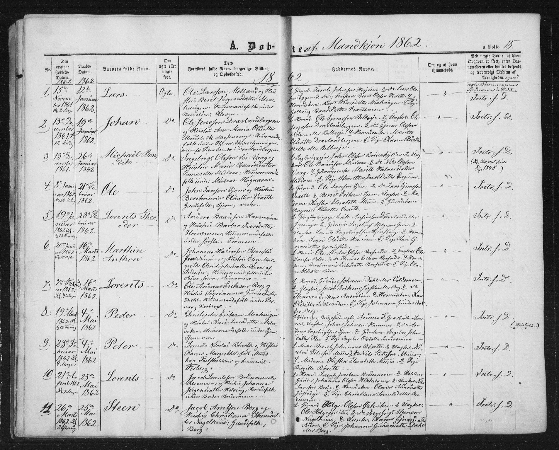 SAT, Ministerialprotokoller, klokkerbøker og fødselsregistre - Nord-Trøndelag, 749/L0472: Ministerialbok nr. 749A06, 1857-1873, s. 15
