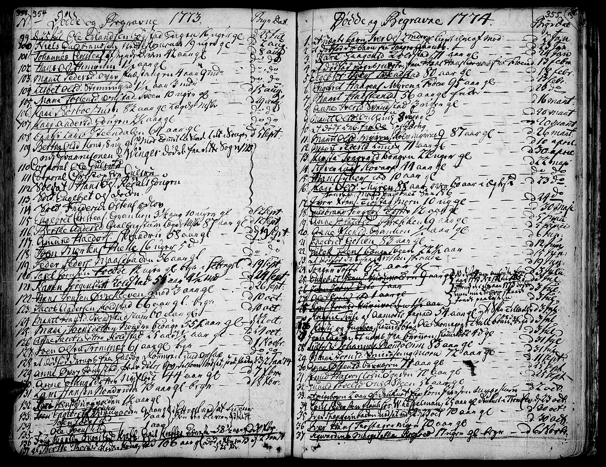 SAH, Ringebu prestekontor, Ministerialbok nr. 2, 1734-1780, s. 354-355