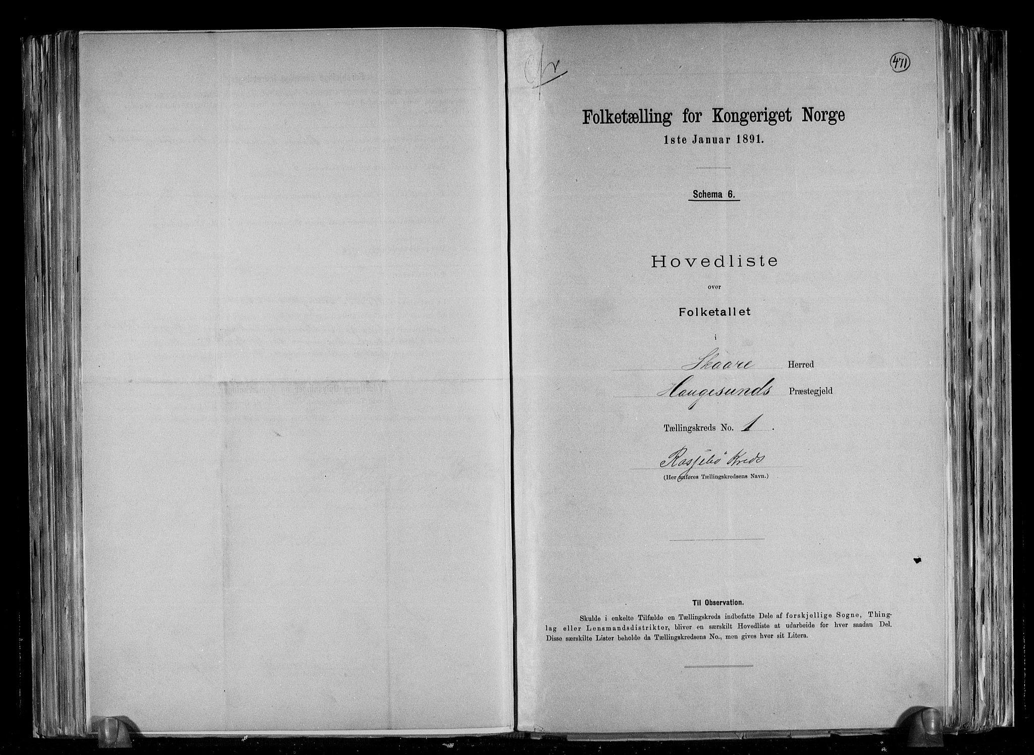 RA, Folketelling 1891 for 1153 Skåre herred, 1891, s. 4