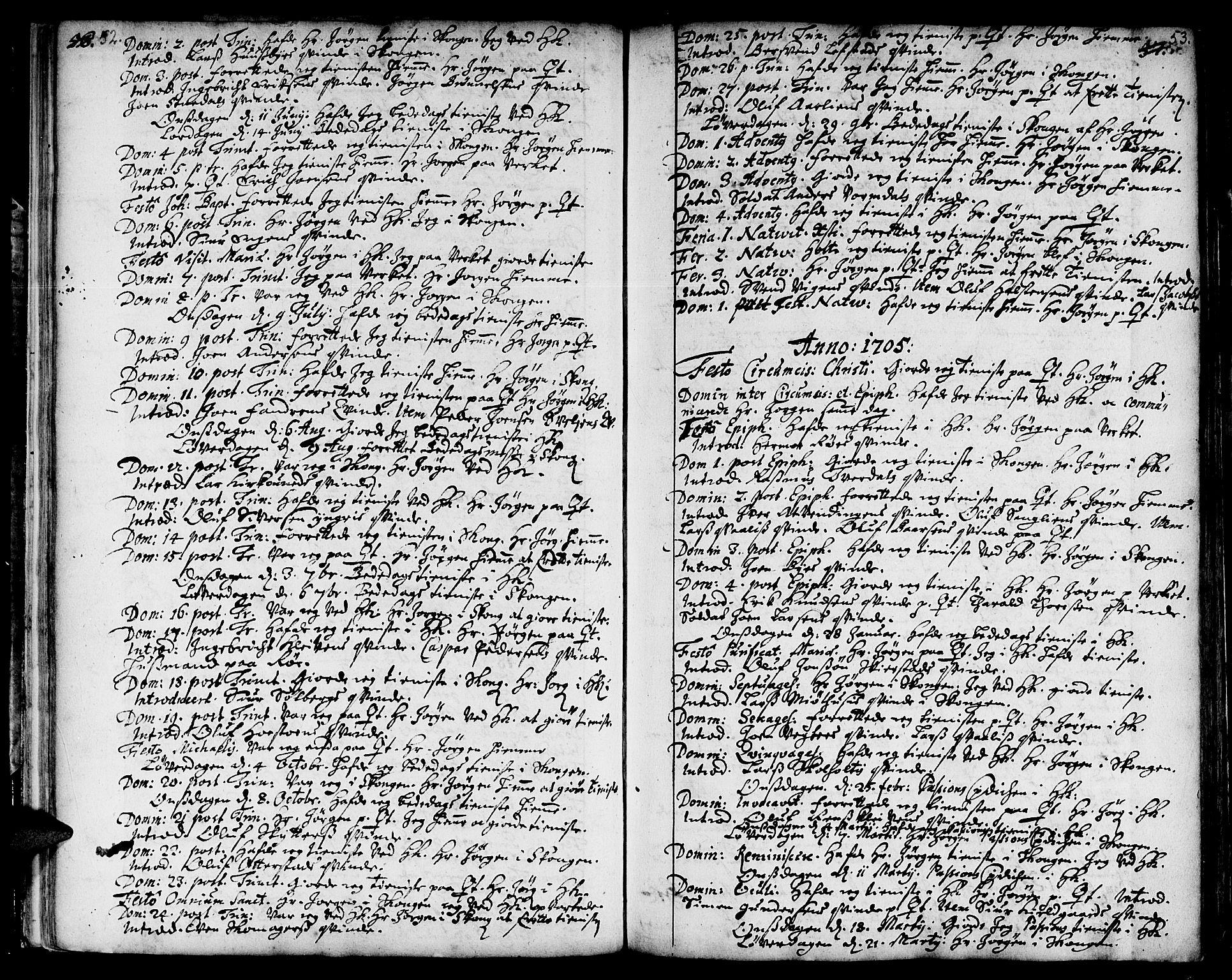 SAT, Ministerialprotokoller, klokkerbøker og fødselsregistre - Sør-Trøndelag, 668/L0801: Ministerialbok nr. 668A01, 1695-1716, s. 52-53