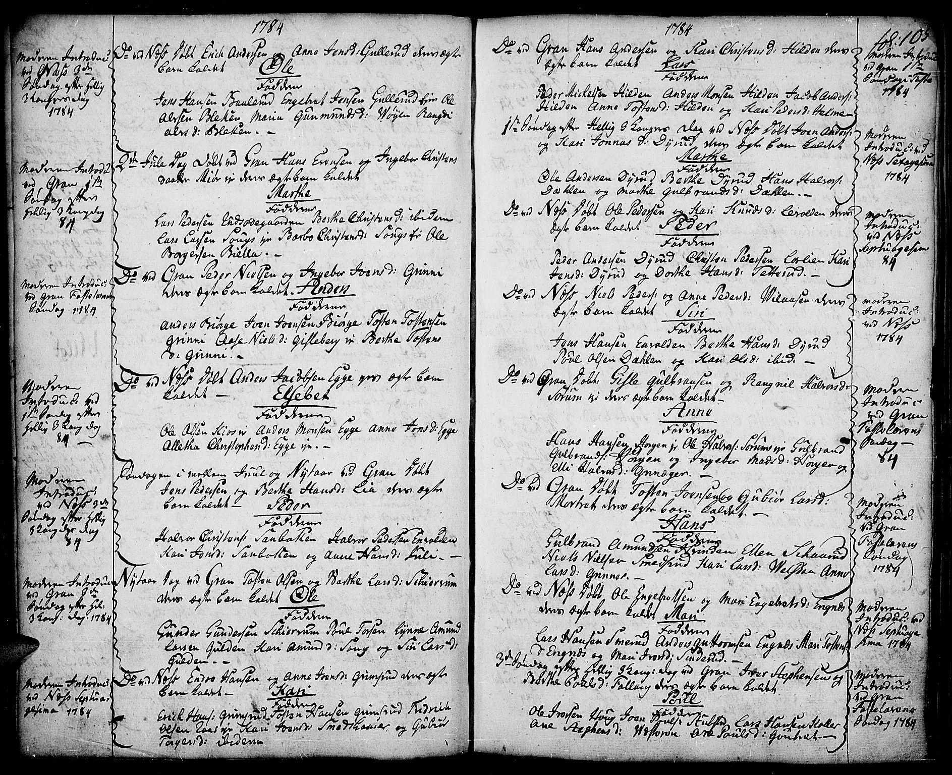 SAH, Gran prestekontor, Ministerialbok nr. 5, 1776-1788, s. 105