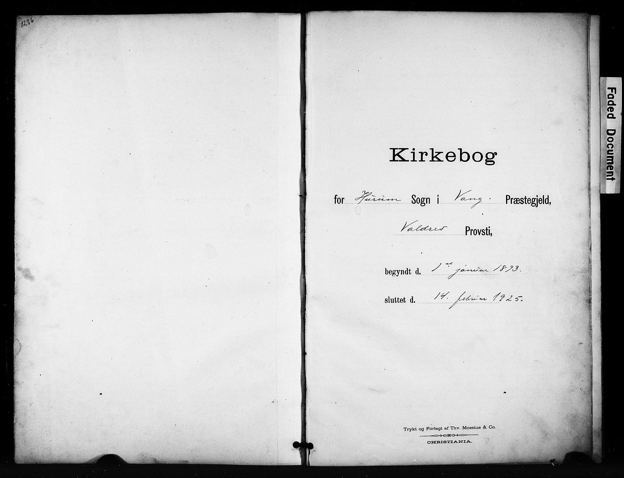 SAH, Vang prestekontor, Valdres, Klokkerbok nr. 7, 1893-1924