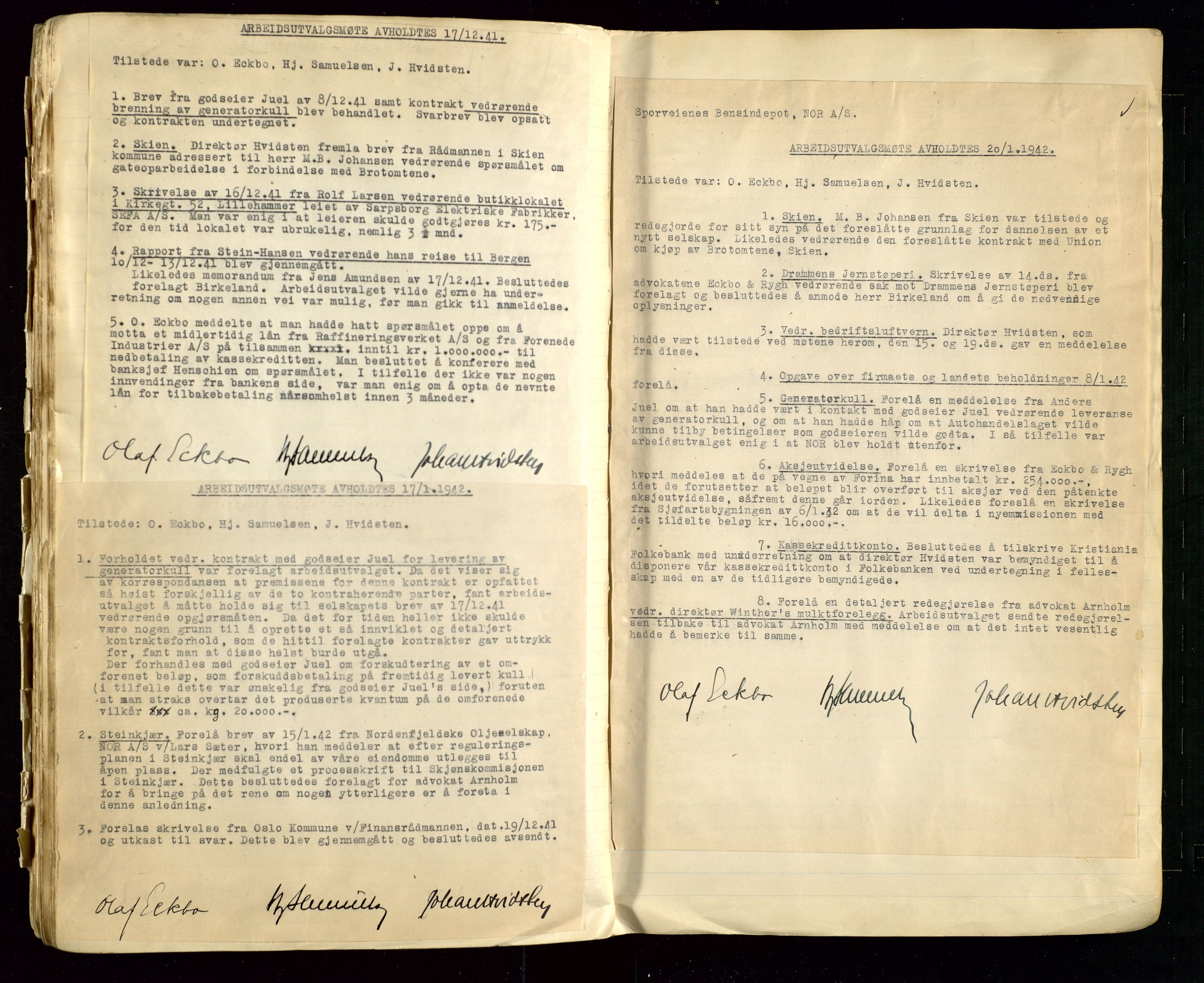 SAST, PA 1514 - Sporveienes Bensindepot, Norsk Oljeraffineri A/S, A/L0002: Forhandlingsprotokoll Arbeidsutvaget, 1932-1946, s. 114