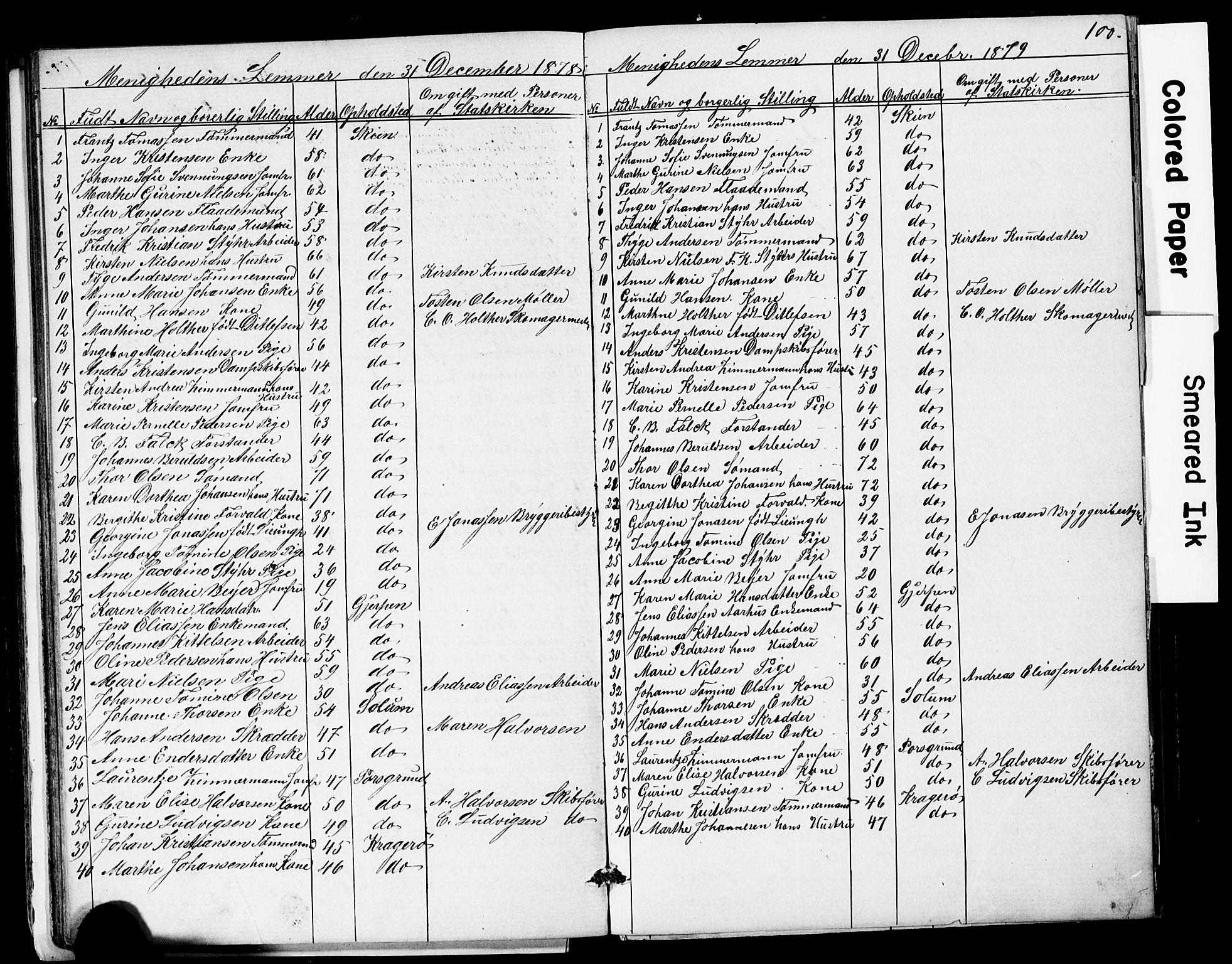 SAKO, Den frie apostolisk-kristelige menighet i Skien, F/Fa/L0001: Dissenterprotokoll nr. 1, 1856-1892, s. 100