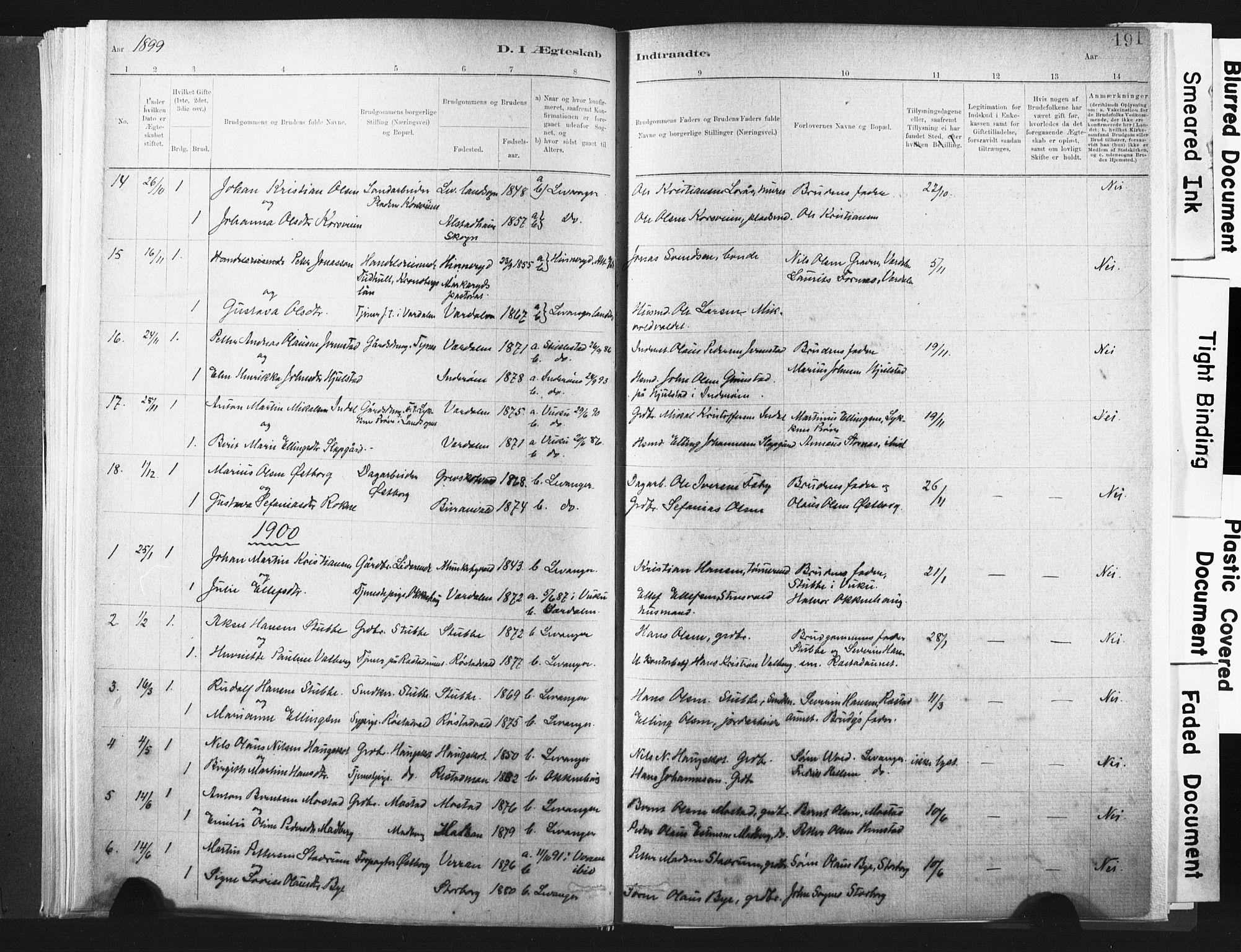 SAT, Ministerialprotokoller, klokkerbøker og fødselsregistre - Nord-Trøndelag, 721/L0207: Ministerialbok nr. 721A02, 1880-1911, s. 191