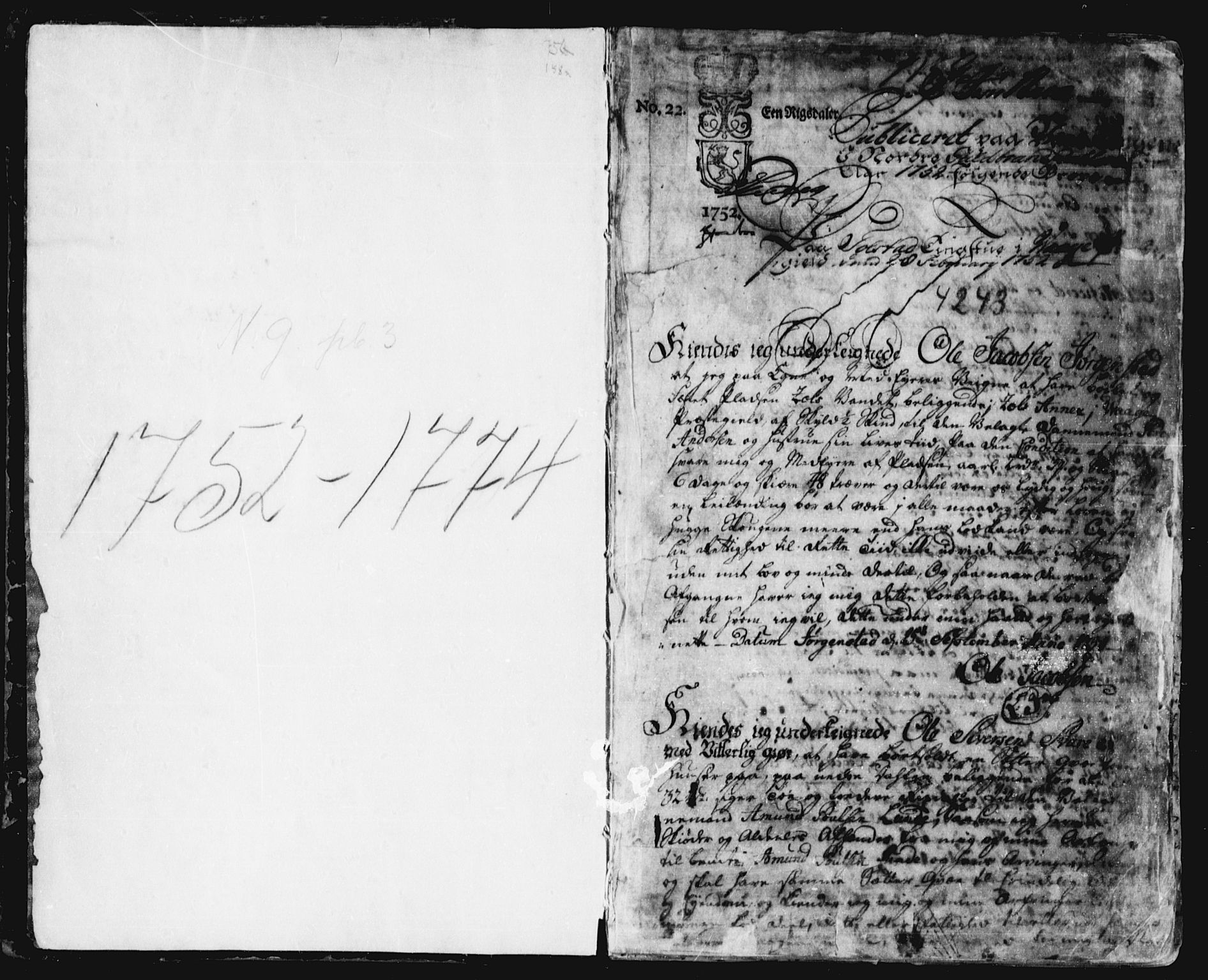 SAH, Nord-Gudbrandsdal tingrett, H/Hb/Hba/L0002: Pantebok nr. 2, 1752-1774, s. 1