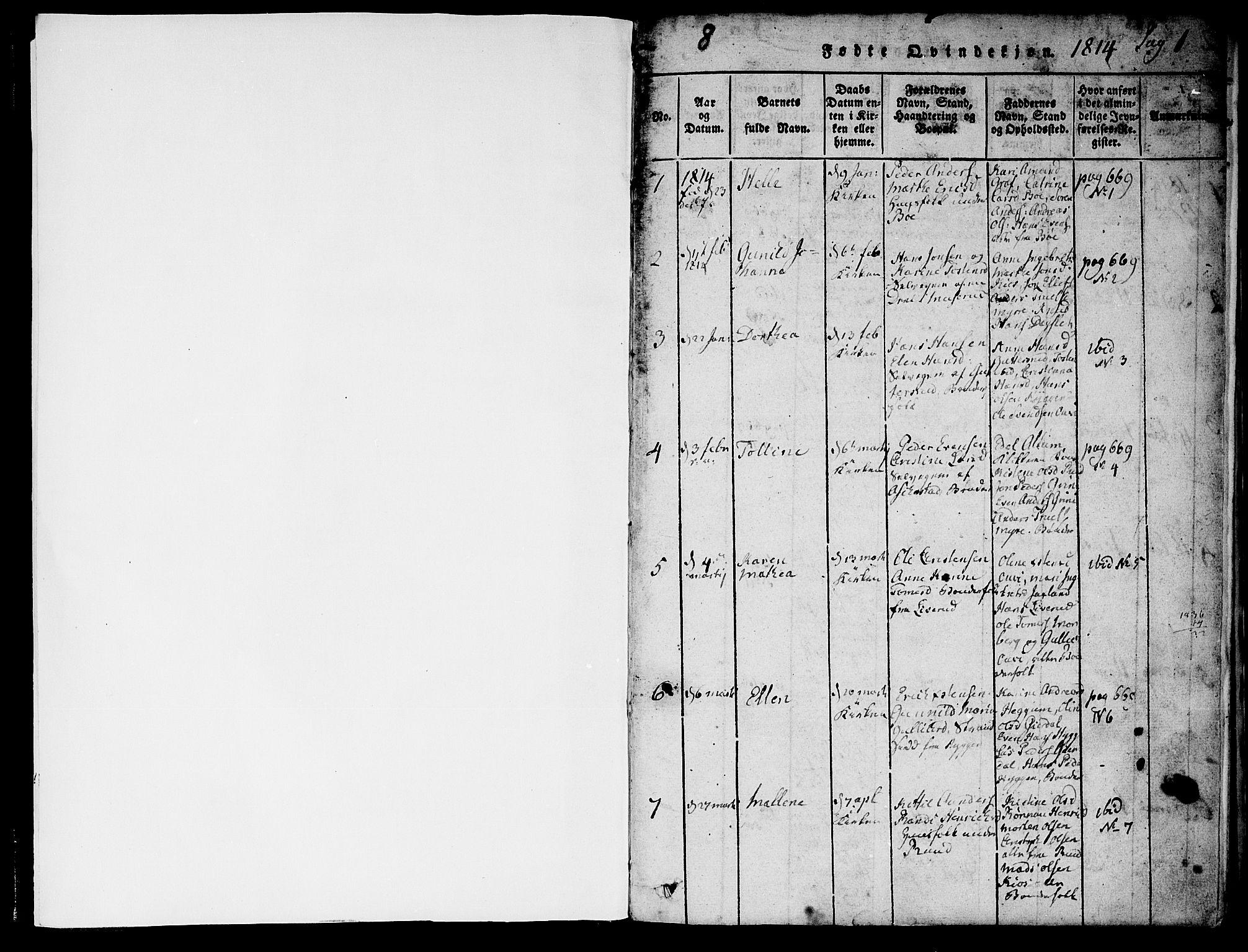 SAKO, Røyken kirkebøker, F/Fa/L0004: Ministerialbok nr. 4, 1814-1832, s. 0-1