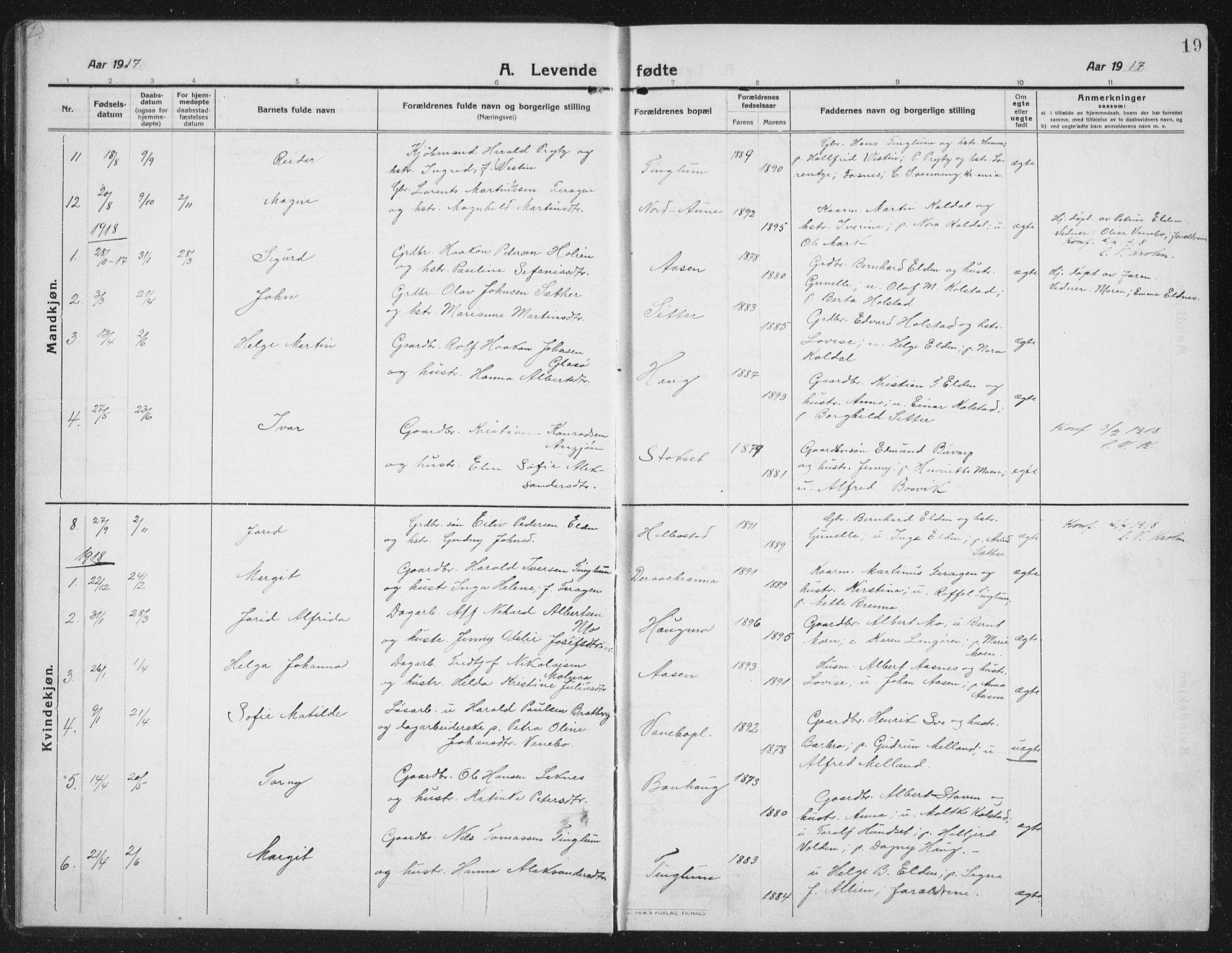 SAT, Ministerialprotokoller, klokkerbøker og fødselsregistre - Nord-Trøndelag, 742/L0413: Klokkerbok nr. 742C04, 1911-1938, s. 19
