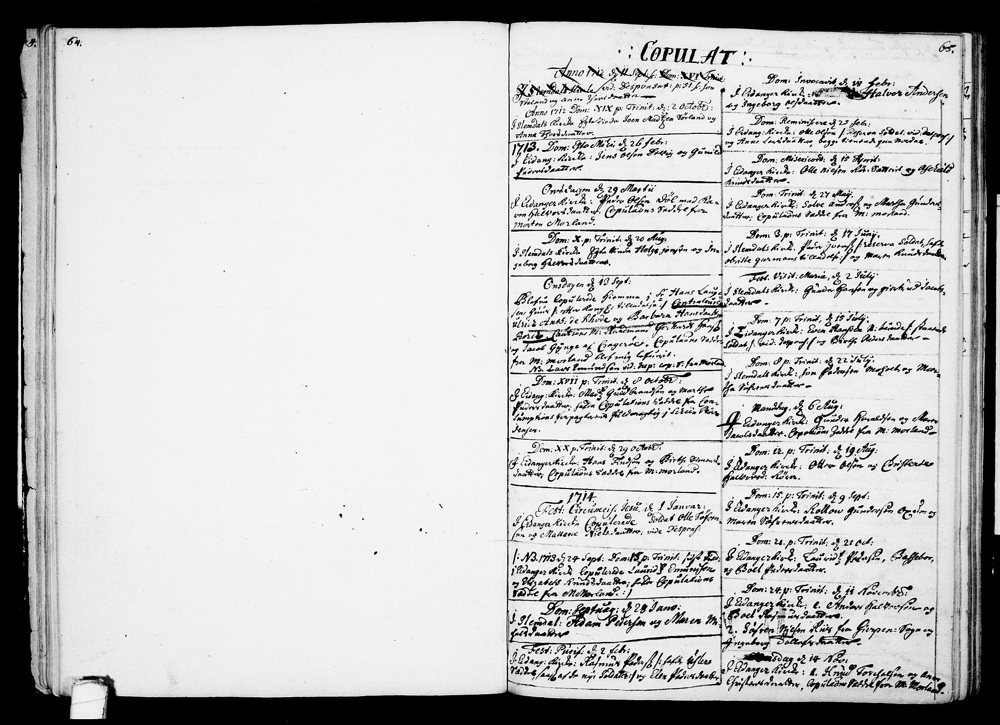 SAKO, Eidanger kirkebøker, F/Fa/L0002: Ministerialbok nr. 2, 1712-1720, s. 64-65