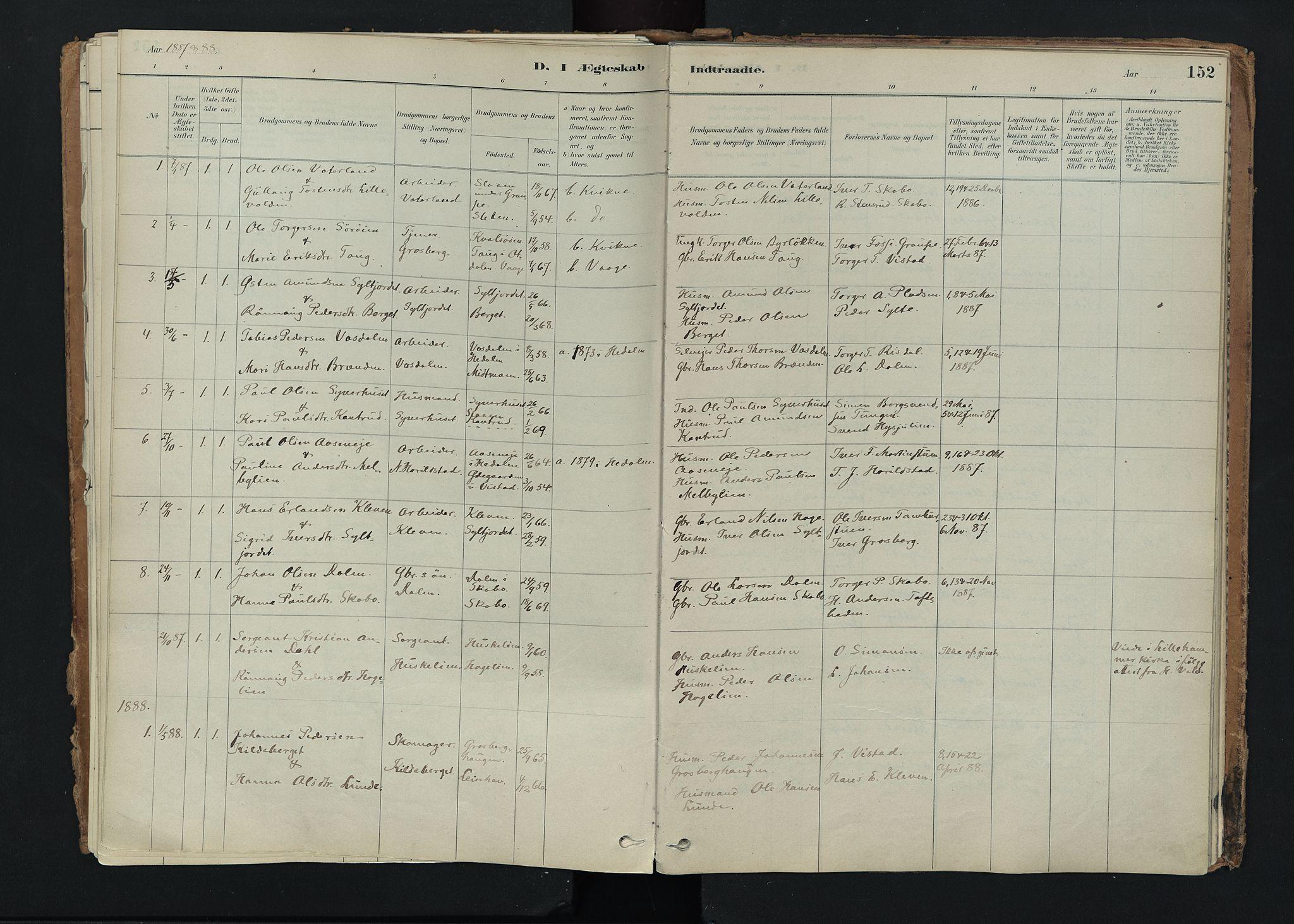SAH, Nord-Fron prestekontor, Ministerialbok nr. 5, 1884-1914, s. 152