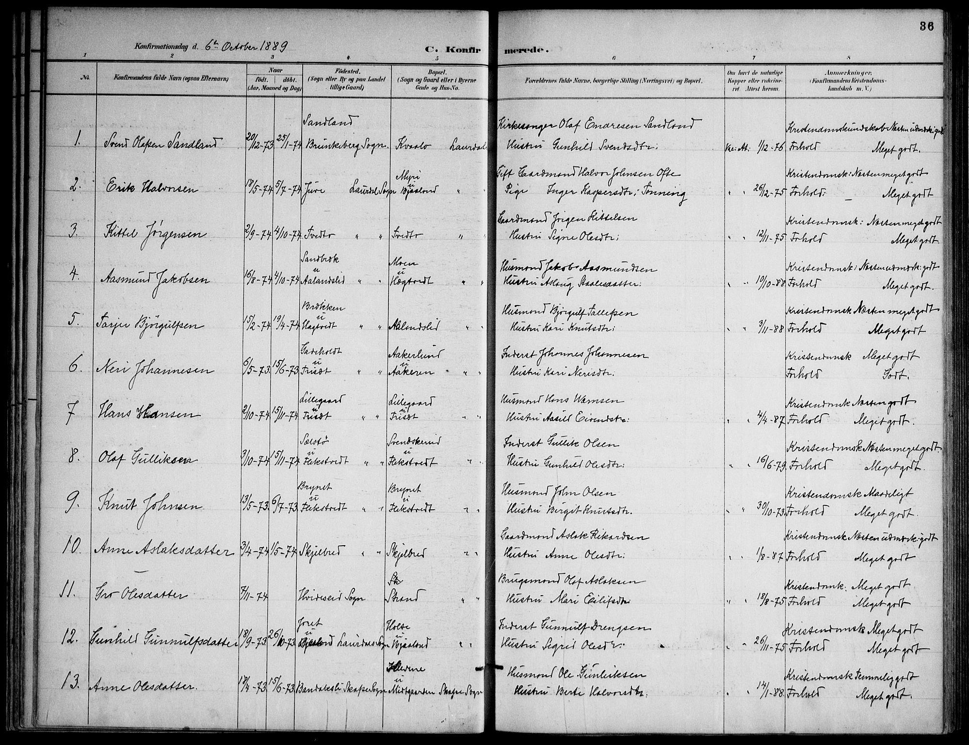 SAKO, Lårdal kirkebøker, F/Fa/L0007: Ministerialbok nr. I 7, 1887-1906, s. 36