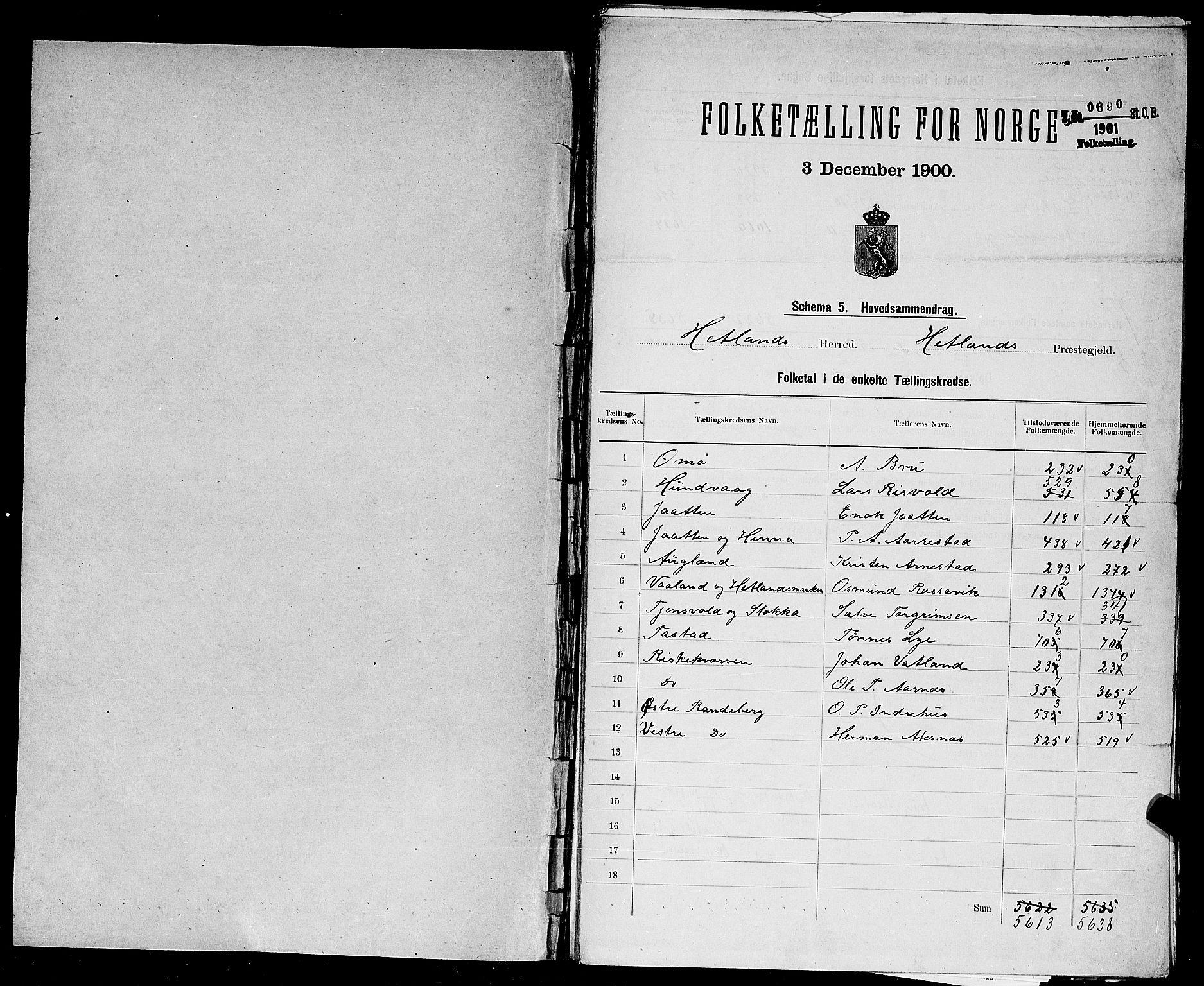 SAST, Folketelling 1900 for 1126 Hetland herred, 1900, s. 2
