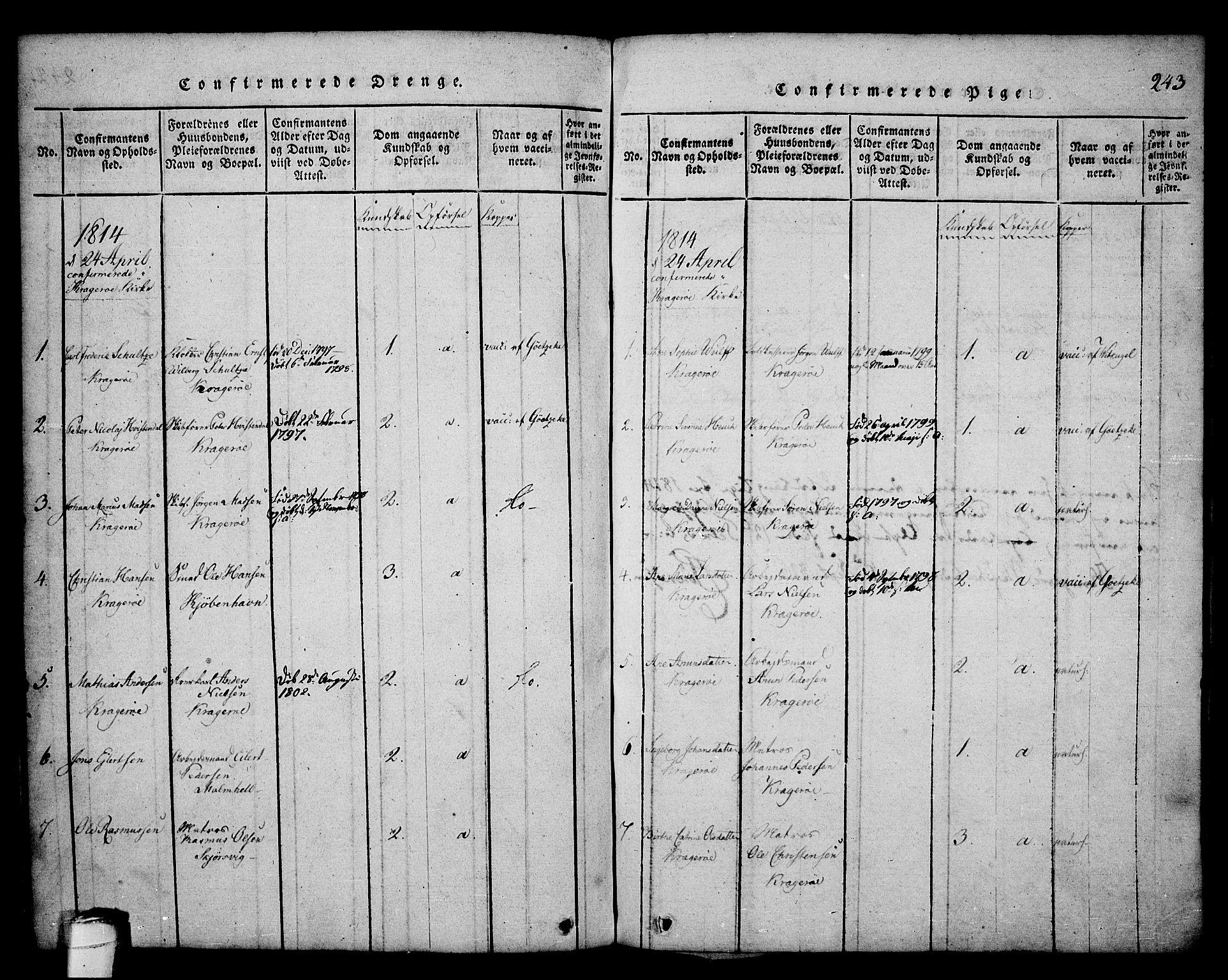 SAKO, Kragerø kirkebøker, G/Ga/L0002: Klokkerbok nr. 2, 1814-1831, s. 243