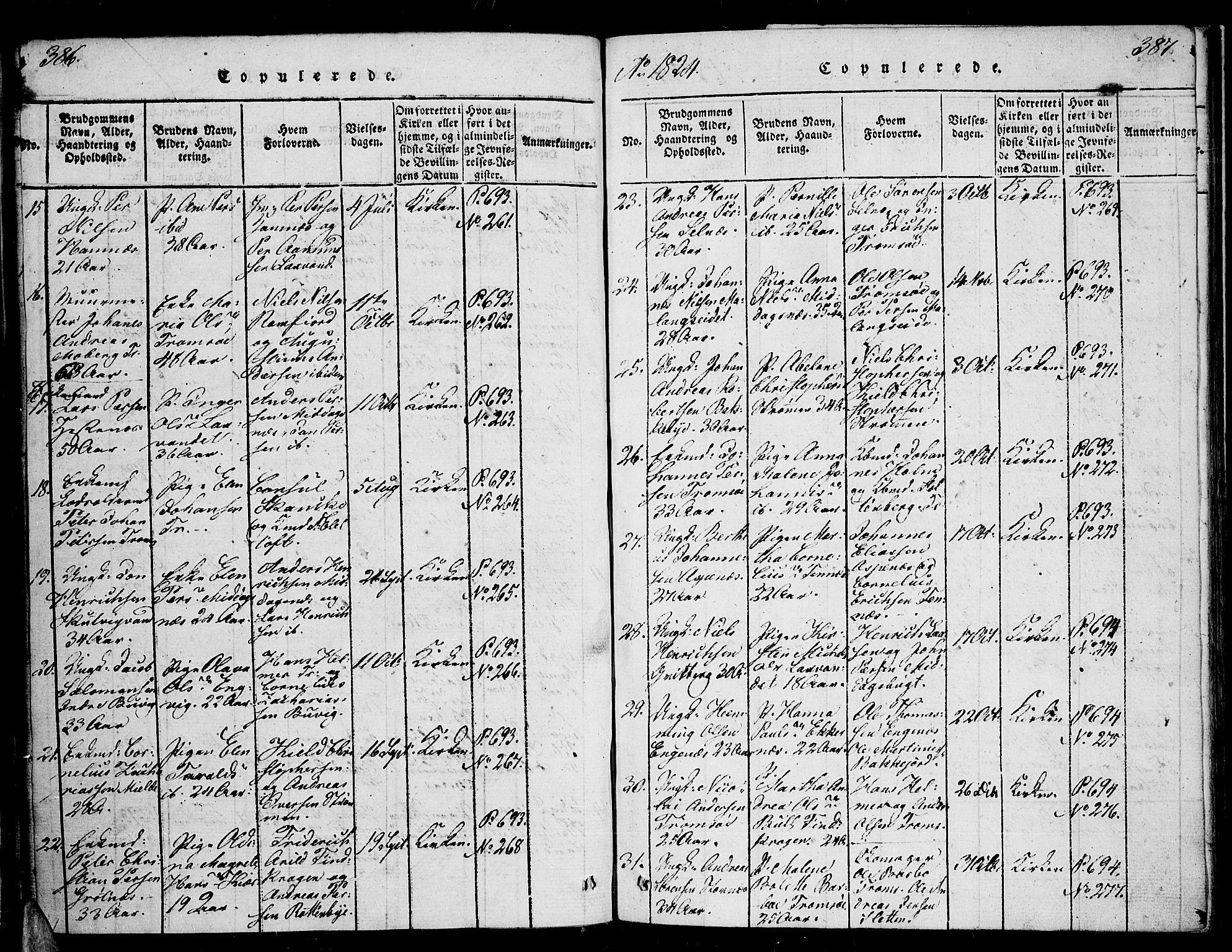 SATØ, Tromsø sokneprestkontor/stiftsprosti/domprosti, G/Ga/L0007kirke: Ministerialbok nr. 7, 1821-1828, s. 386-387