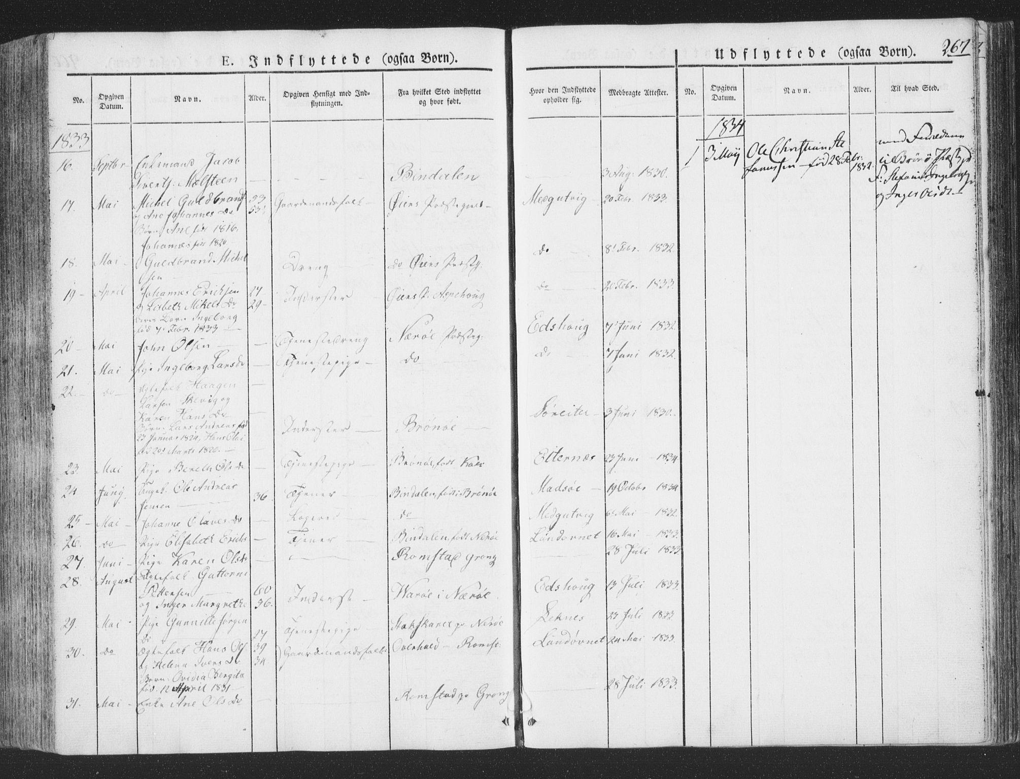 SAT, Ministerialprotokoller, klokkerbøker og fødselsregistre - Nord-Trøndelag, 780/L0639: Ministerialbok nr. 780A04, 1830-1844, s. 267
