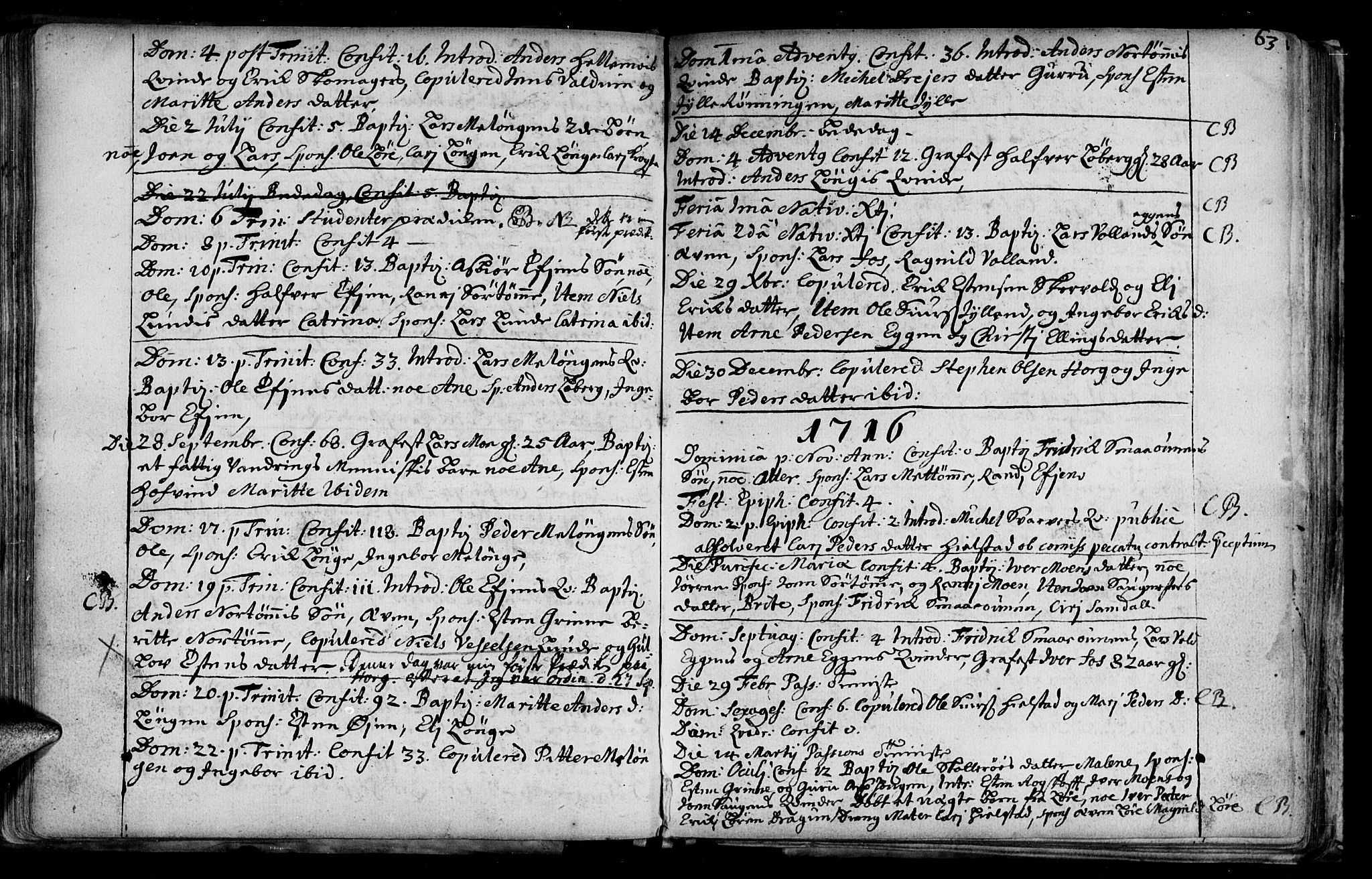 SAT, Ministerialprotokoller, klokkerbøker og fødselsregistre - Sør-Trøndelag, 692/L1101: Ministerialbok nr. 692A01, 1690-1746, s. 63