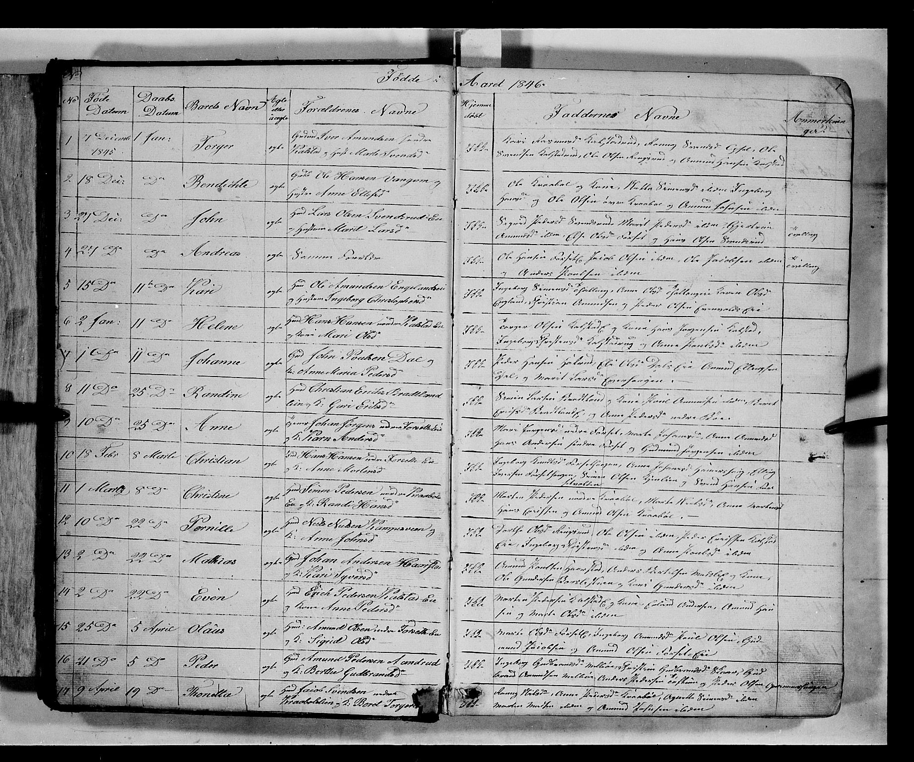 SAH, Gausdal prestekontor, Klokkerbok nr. 5, 1846-1867, s. 1