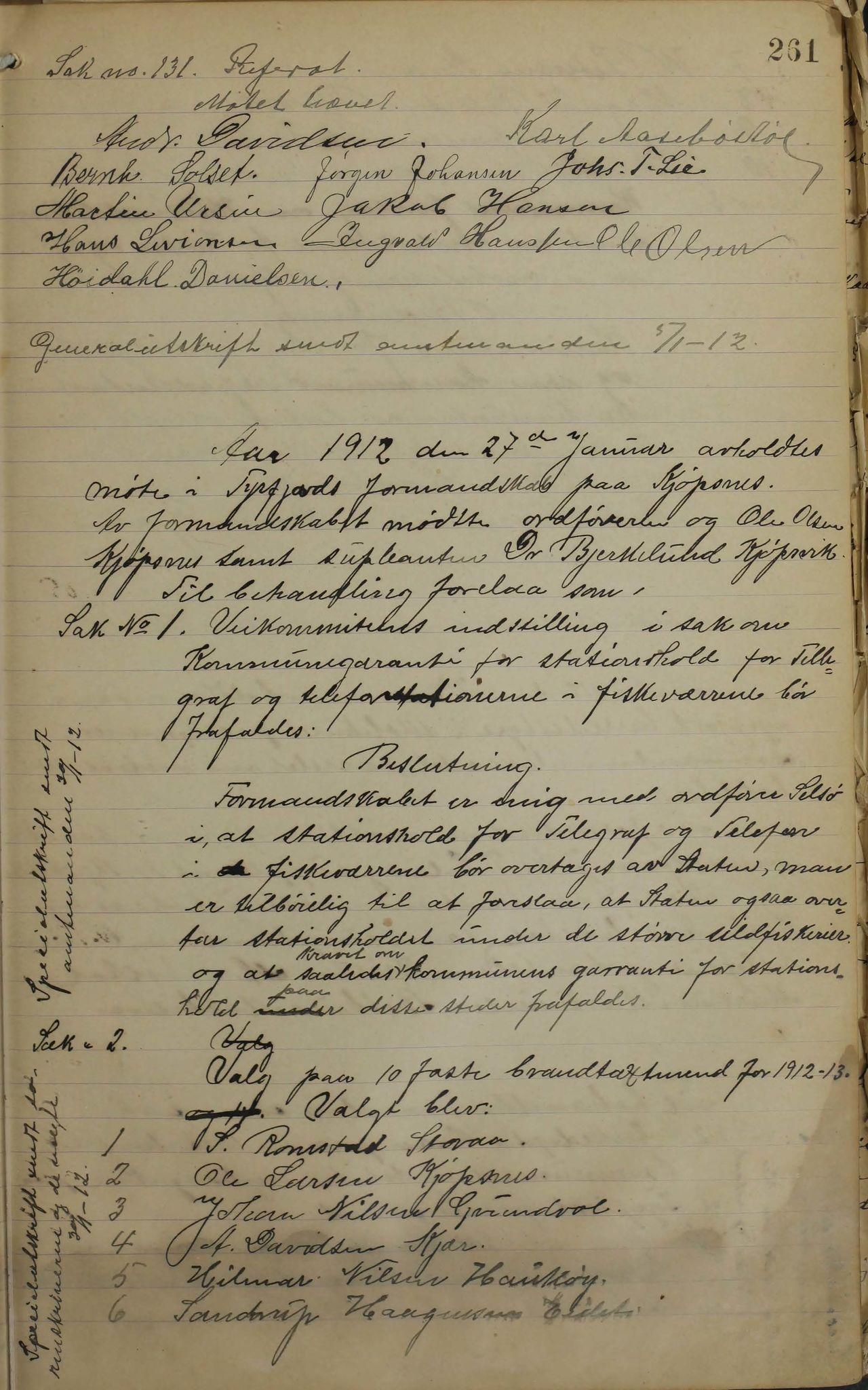 AIN, Tysfjord kommune. Formannskapet, 100/L0002: Forhandlingsprotokoll for Tysfjordens formandskap, 1895-1912, s. 261