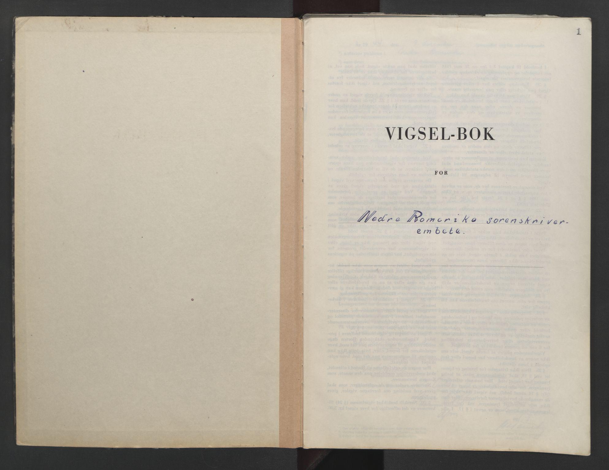 SAO, Nedre Romerike sorenskriveri, L/Lb/L0006: Vigselsbok - borgerlige vielser, 1944-1946, s. 1