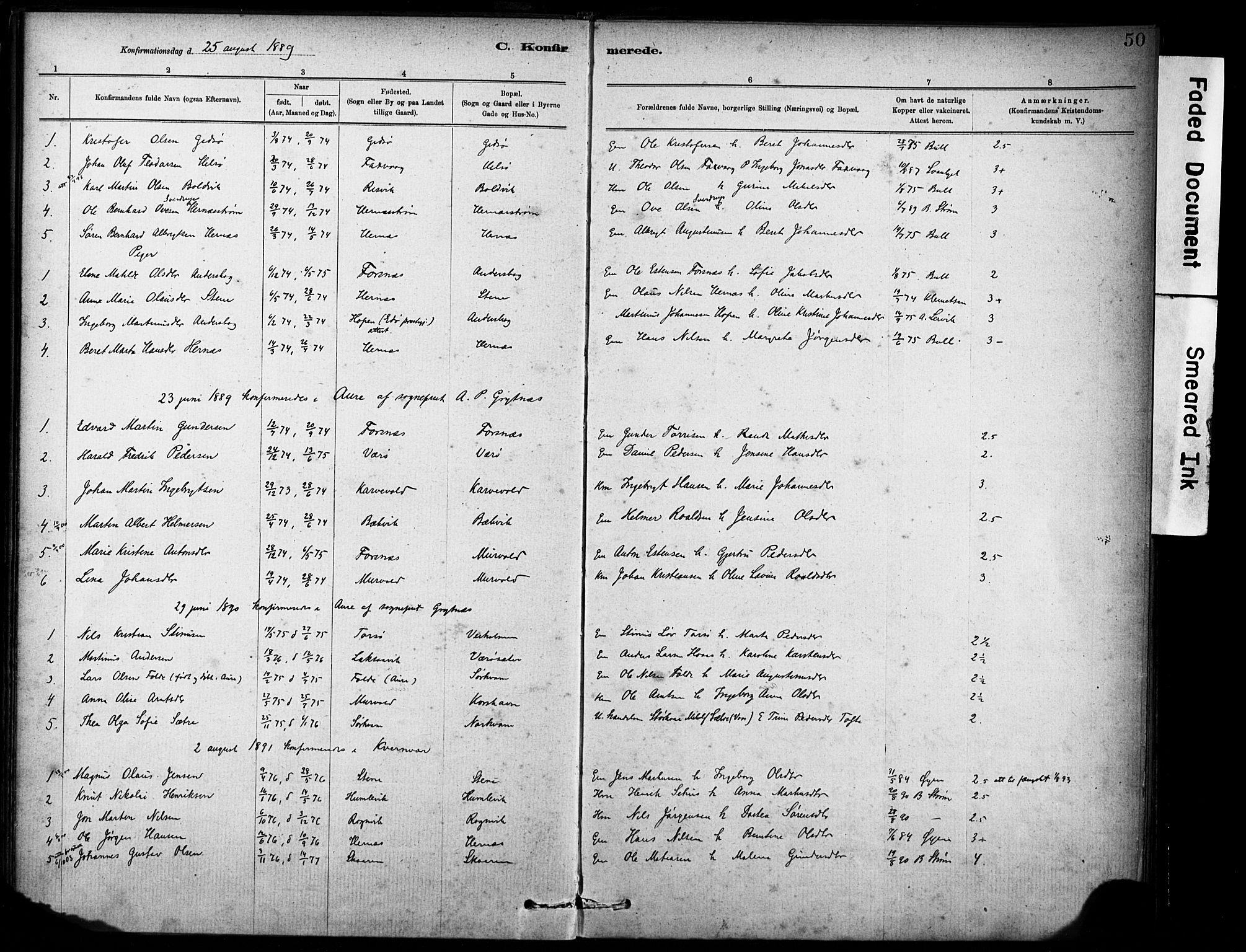 SAT, Ministerialprotokoller, klokkerbøker og fødselsregistre - Sør-Trøndelag, 635/L0551: Ministerialbok nr. 635A01, 1882-1899, s. 50