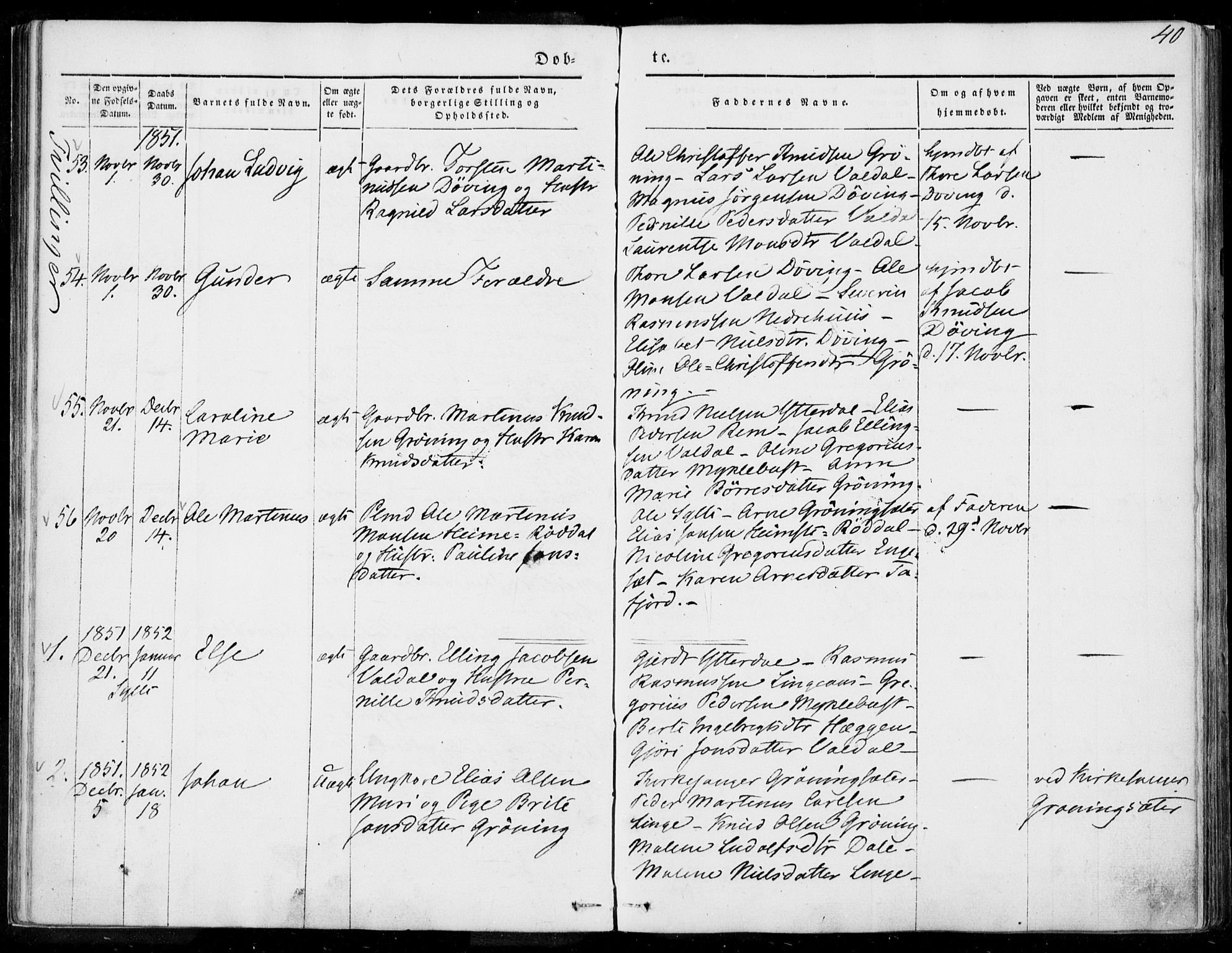 SAT, Ministerialprotokoller, klokkerbøker og fødselsregistre - Møre og Romsdal, 519/L0249: Ministerialbok nr. 519A08, 1846-1868, s. 40