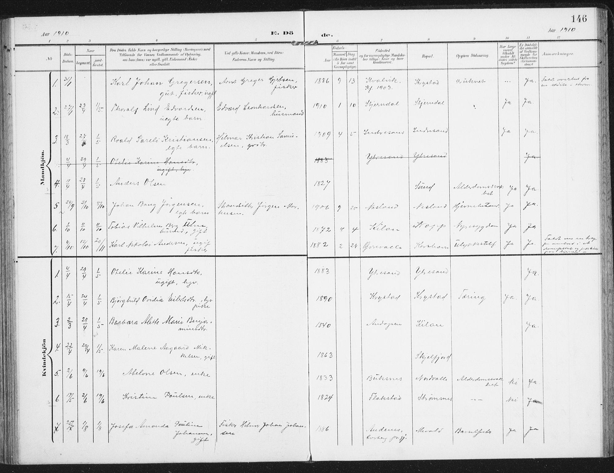 SAT, Ministerialprotokoller, klokkerbøker og fødselsregistre - Nordland, 885/L1206: Ministerialbok nr. 885A07, 1905-1915, s. 146